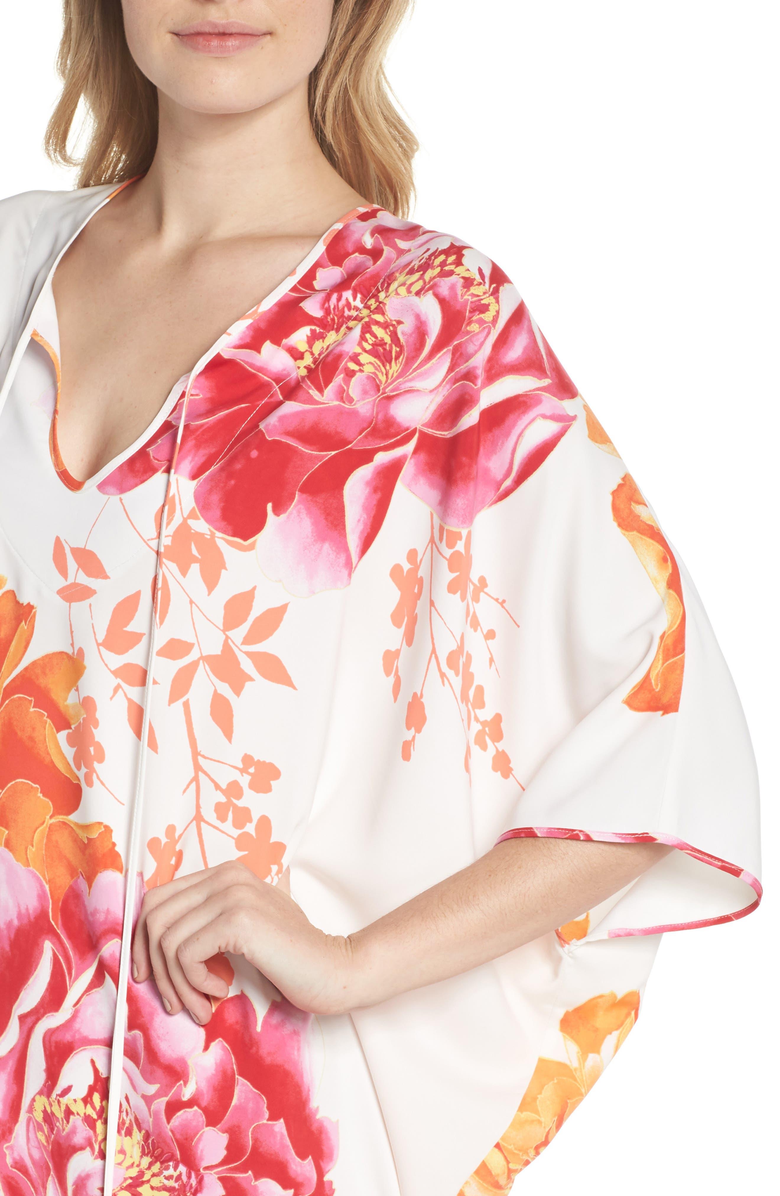 Bali Floral Print Satin Caftan,                             Alternate thumbnail 4, color,                             105