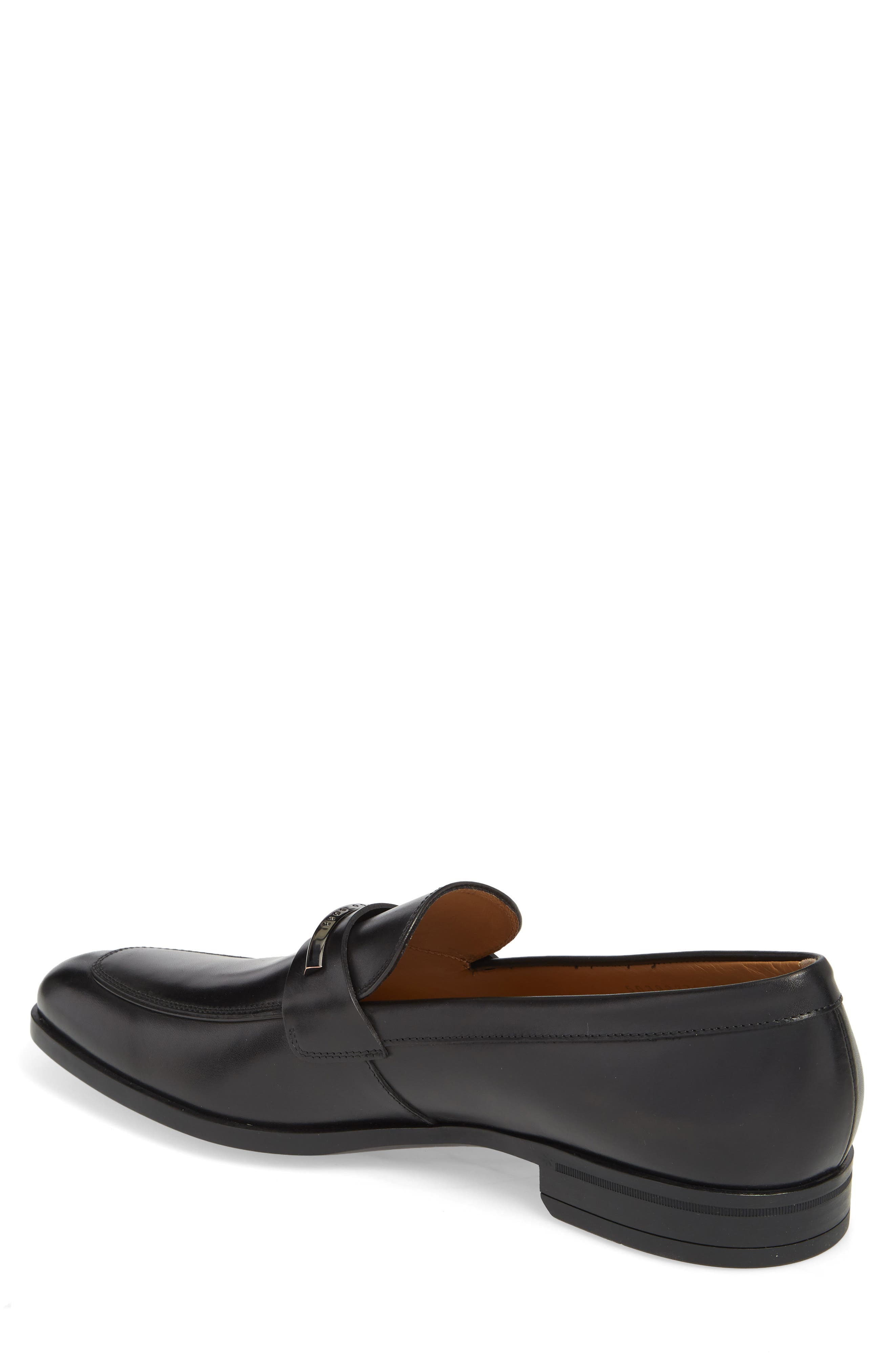 Hugo Boss Portland Solid Bit Loafer,                             Alternate thumbnail 2, color,                             BLACK LEATHER