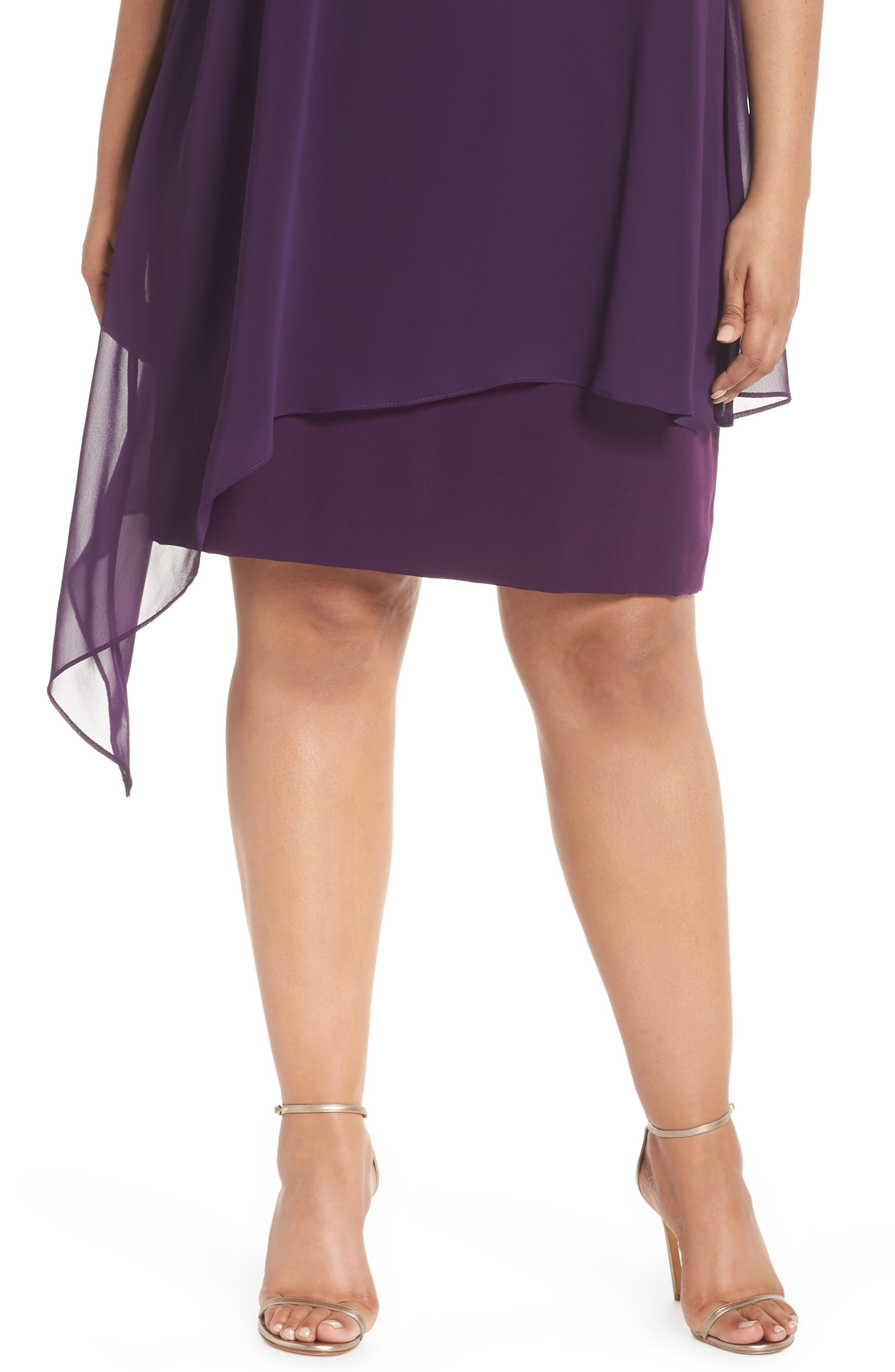 Sleeveless Overlay Crepe Sheath Dress,                             Alternate thumbnail 4, color,                             515