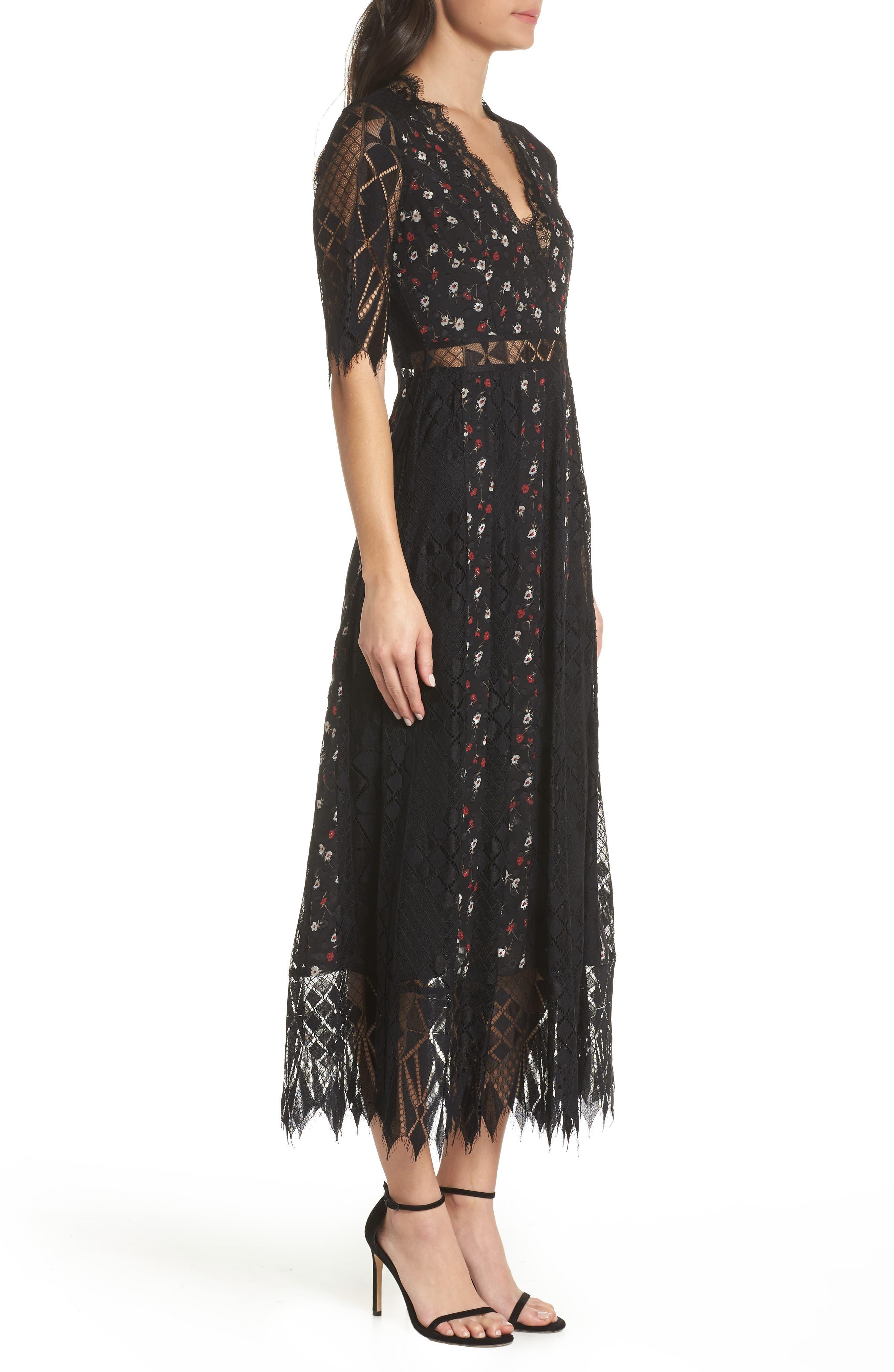 Josefine Lace & Clip Dot Tea Length Dress,                             Alternate thumbnail 3, color,                             BLACK MULTI