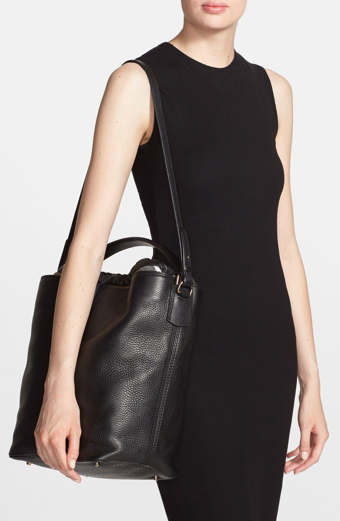 Brit 'Medium Susanna' Leather & Canvas Check Hobo Bag,                             Alternate thumbnail 3, color,                             001