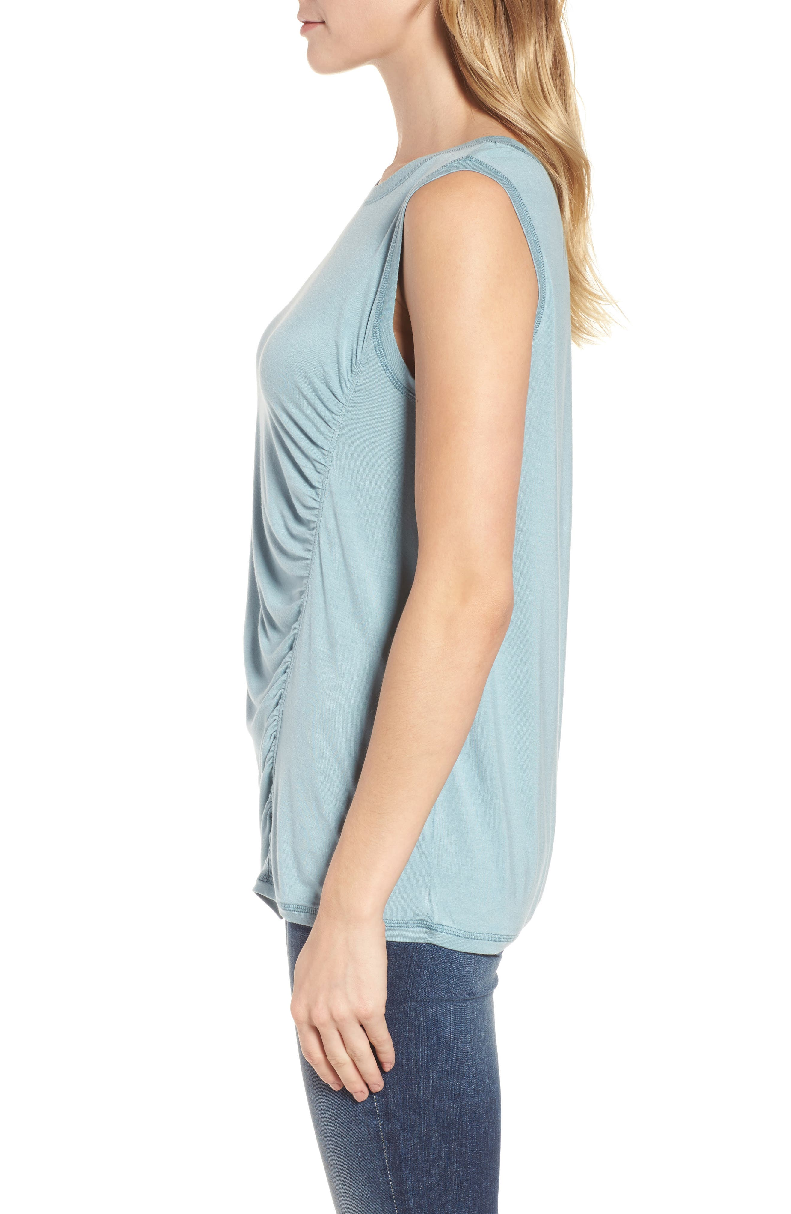 Off-Duty Shirred Sleeveless Tee,                             Alternate thumbnail 14, color,