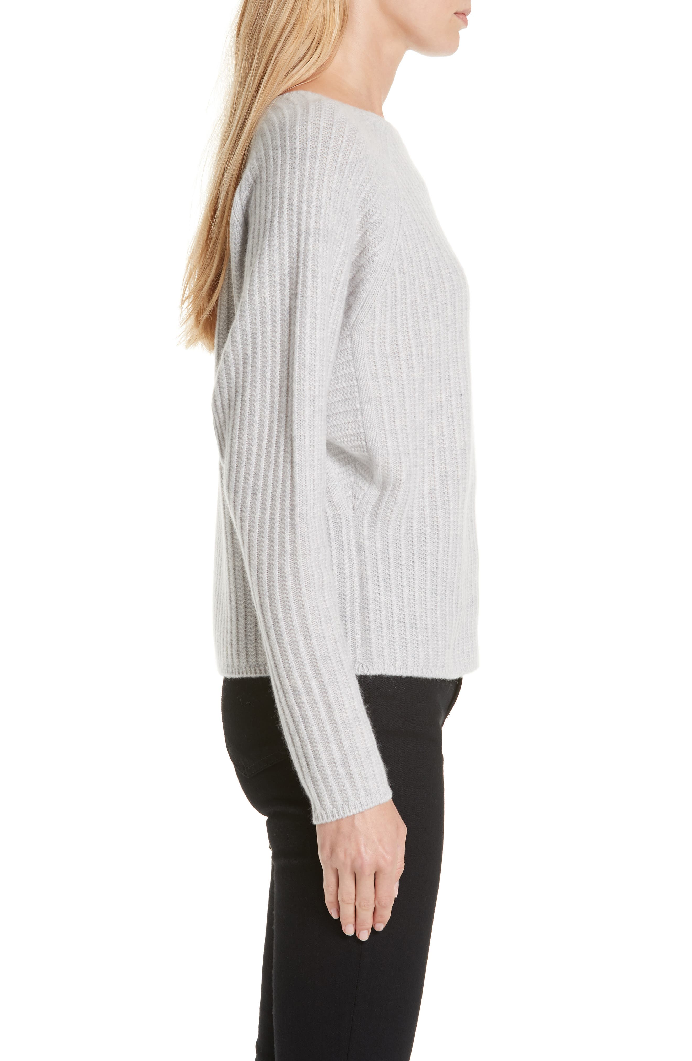 Textured Cashmere Sweater,                             Alternate thumbnail 3, color,                             GREY CLAY HEATHER