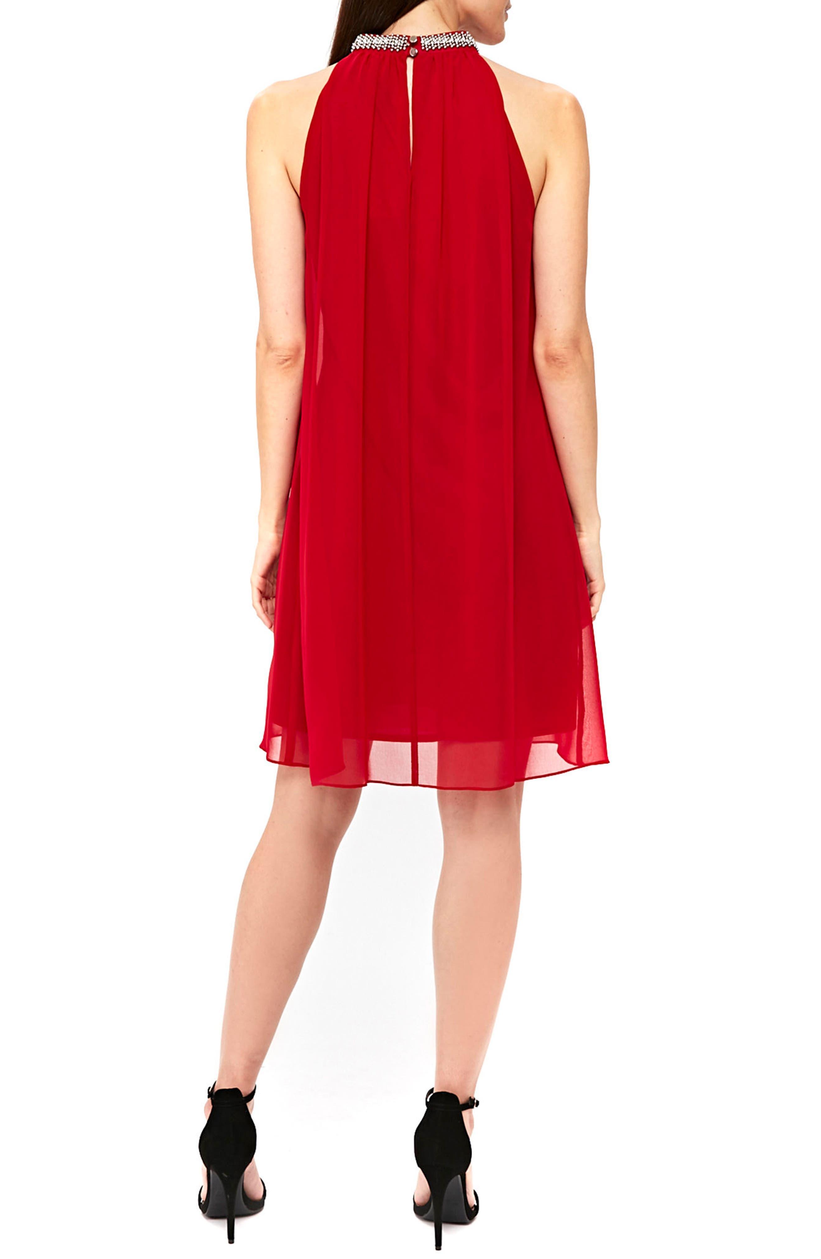 Embellished Neck Shift Dress,                             Alternate thumbnail 4, color,