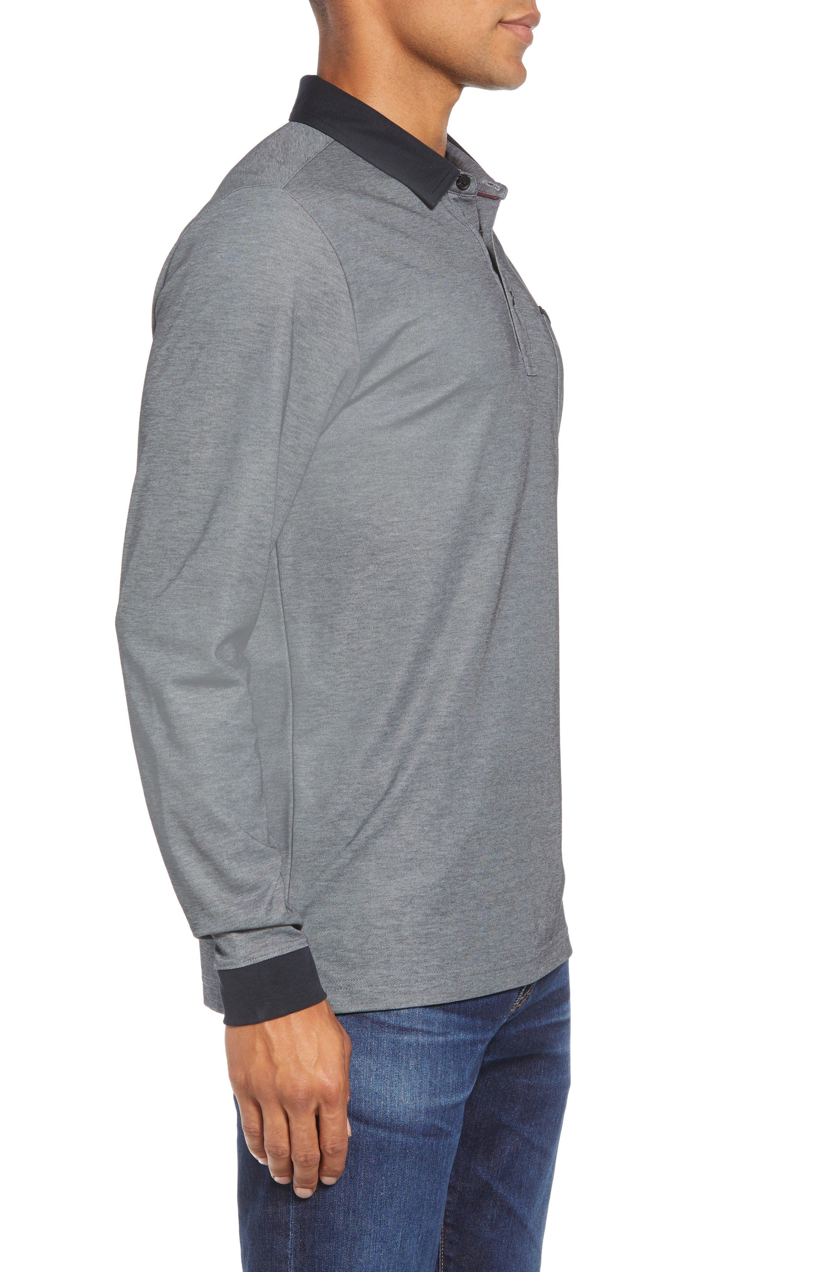 Kay Regular Fit Long Sleeve Polo Shirt,                             Alternate thumbnail 3, color,                             HEATHER CASTLEROCK