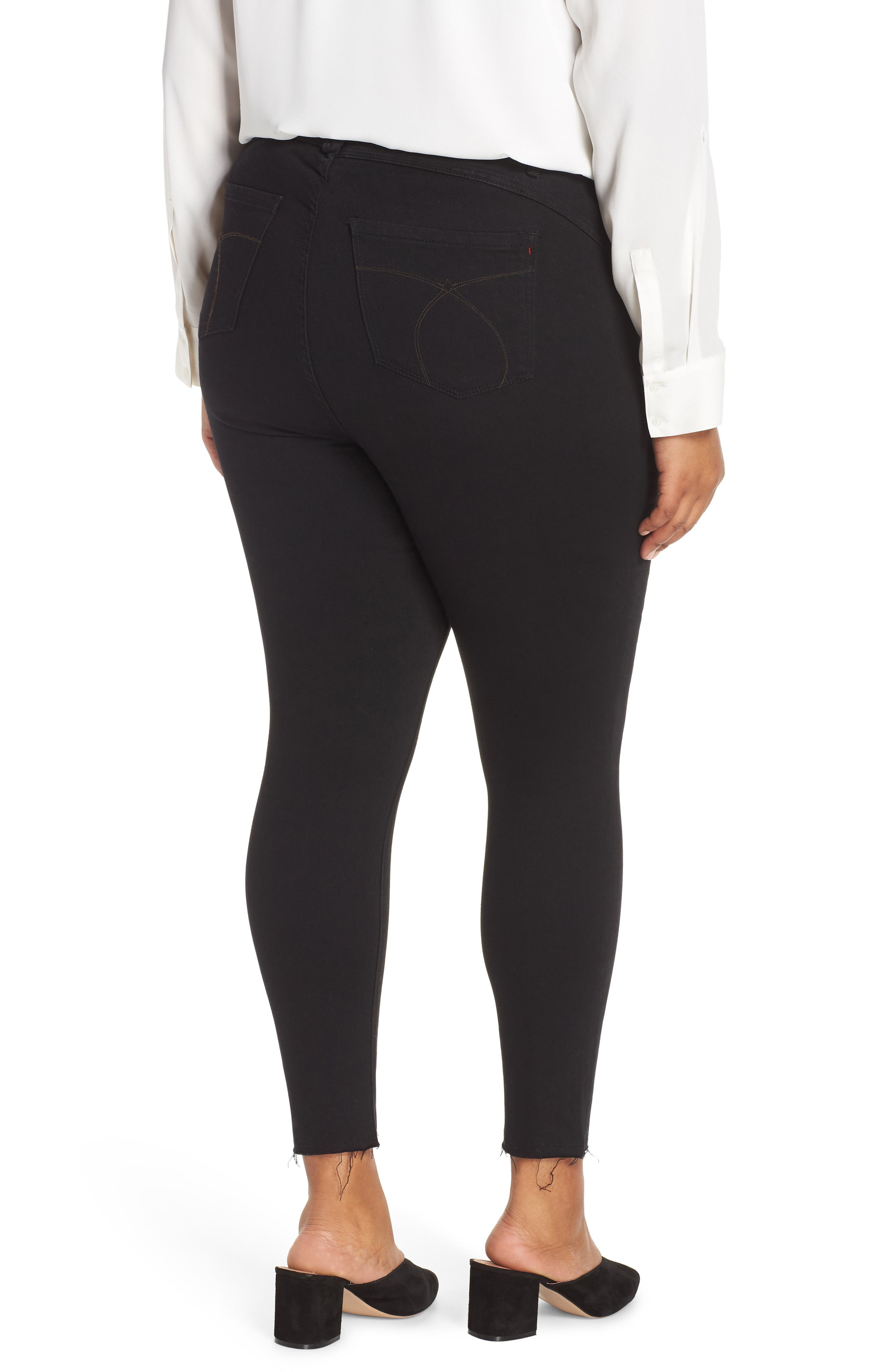 Fray Hem Ankle Skinny Jeans,                             Alternate thumbnail 2, color,                             BLACK RINSE WASH