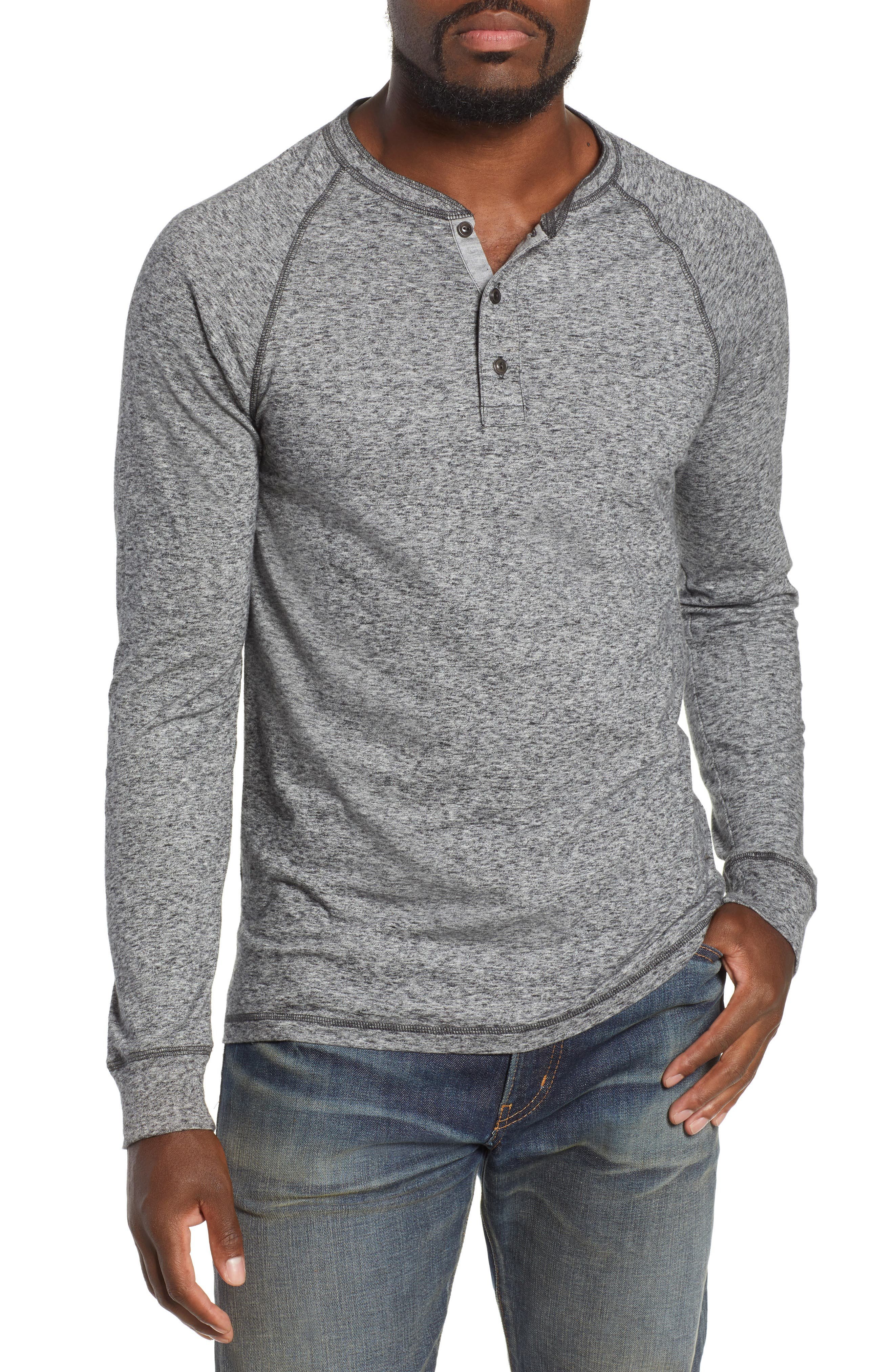 FAHERTY Men'S Luxe Heather Organic Slub Henley Shirt in Charcoal