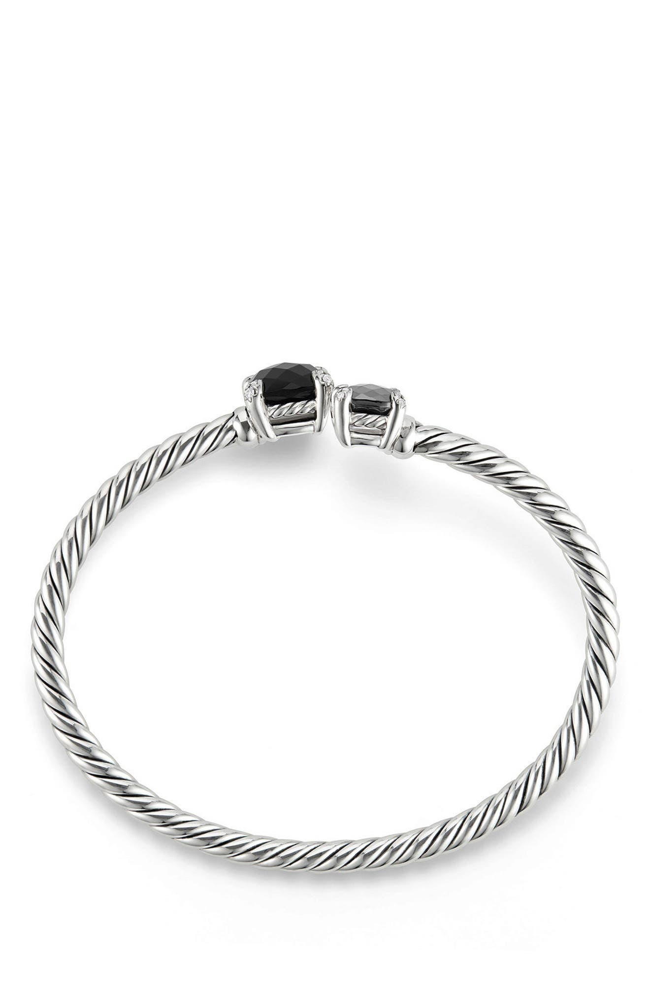Chatelaine Bypass Bracelet with Diamonds,                             Alternate thumbnail 3, color,                             BLACK ONYX