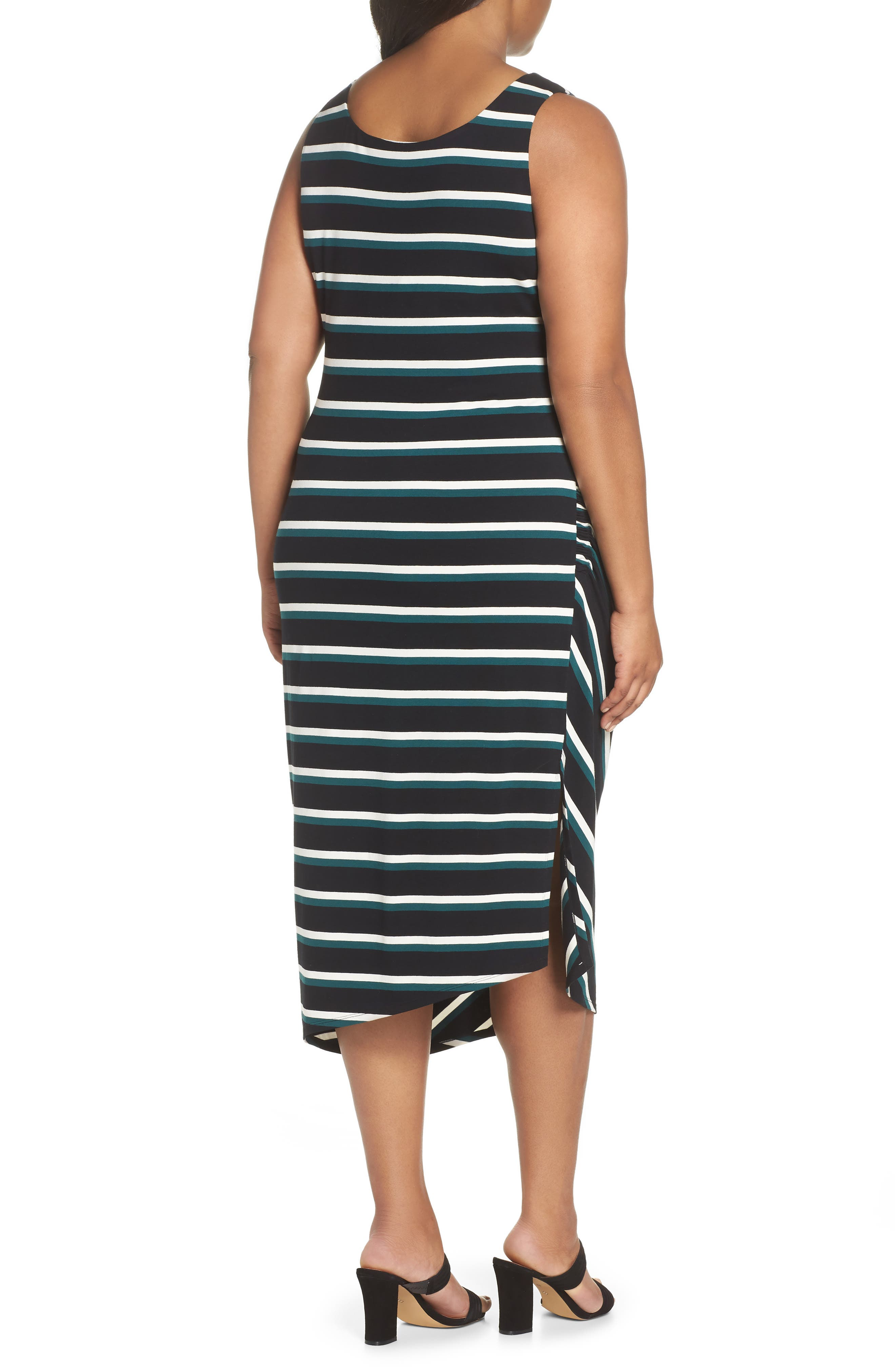 Side Ruched Stripe Tank Dress,                             Alternate thumbnail 2, color,                             300