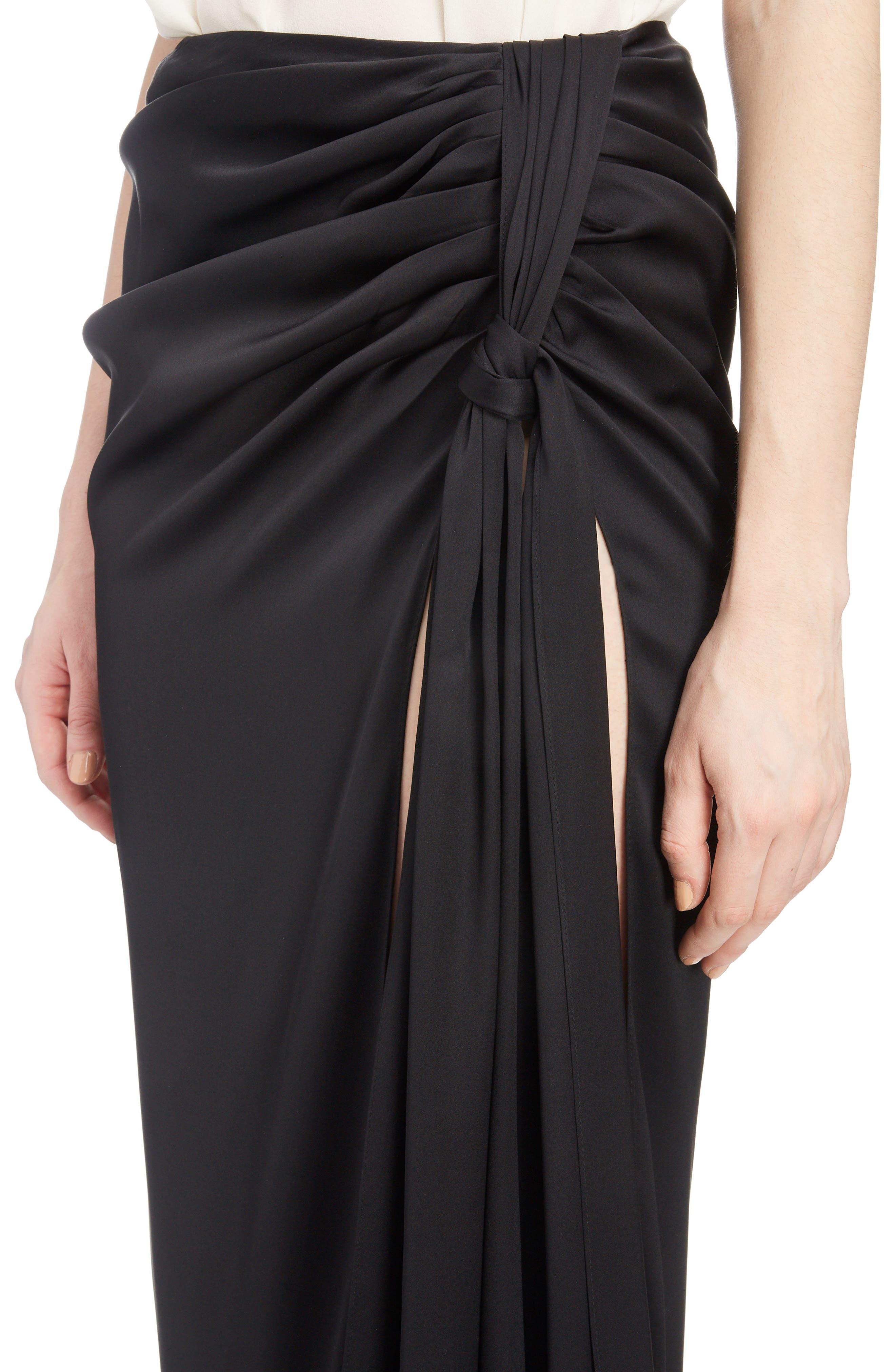 Fringe Trim Silk Skirt,                             Alternate thumbnail 4, color,                             BLACK