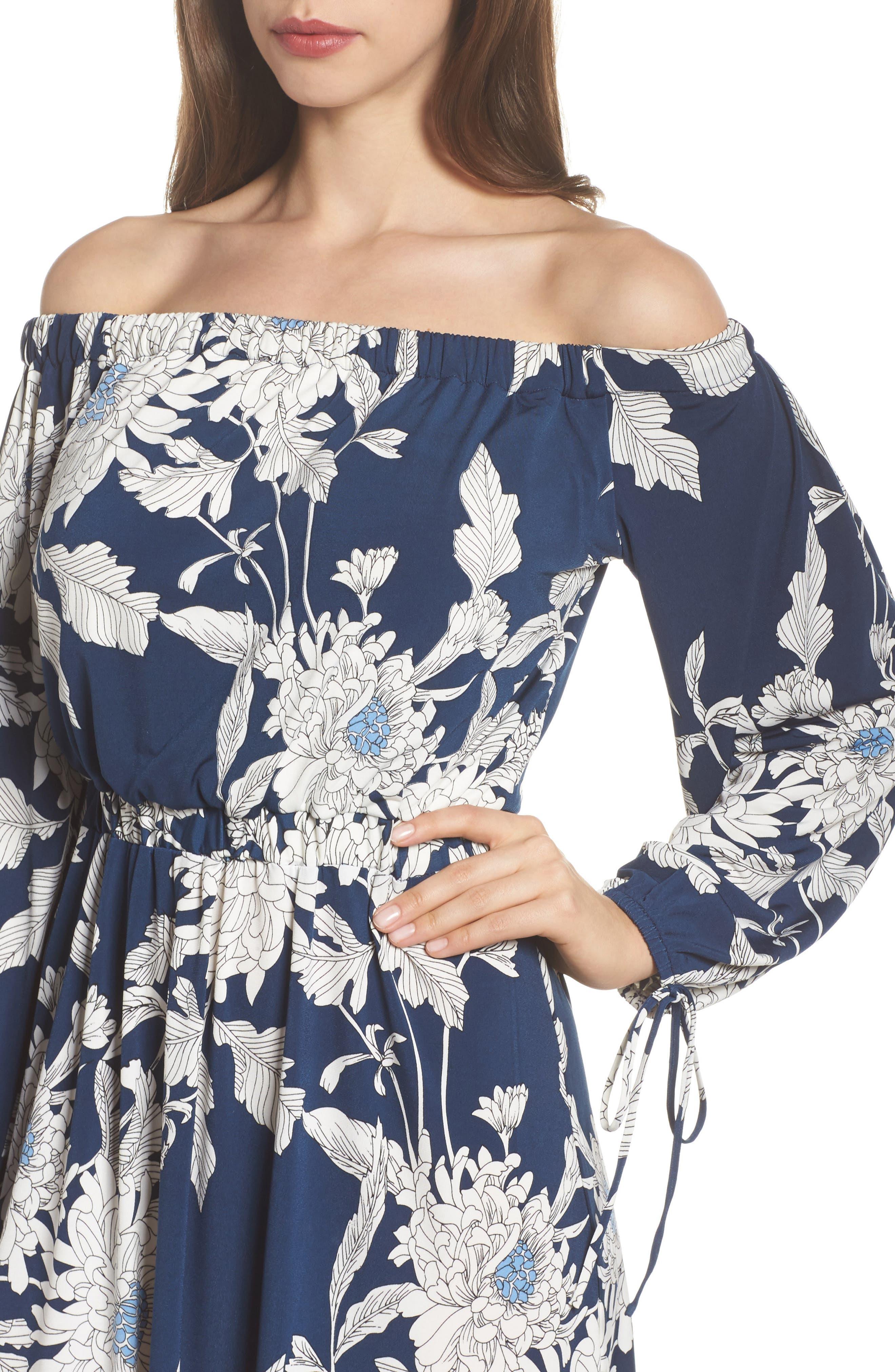 Print Jersey Off the Shoulder Blouson Dress,                             Alternate thumbnail 4, color,                             402
