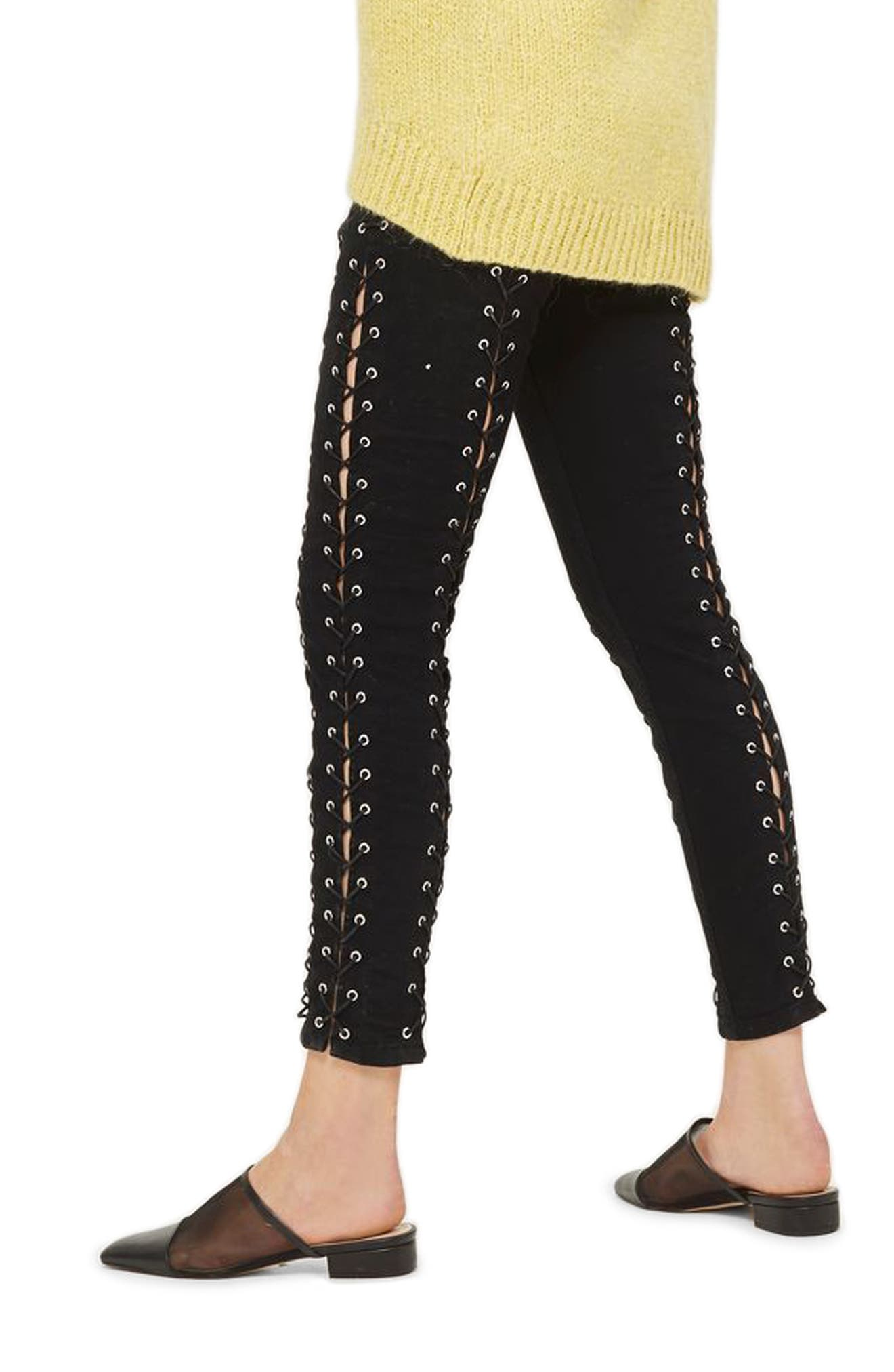 Jamie Extreme Lace-Up Skinny Jeans,                             Alternate thumbnail 2, color,                             001