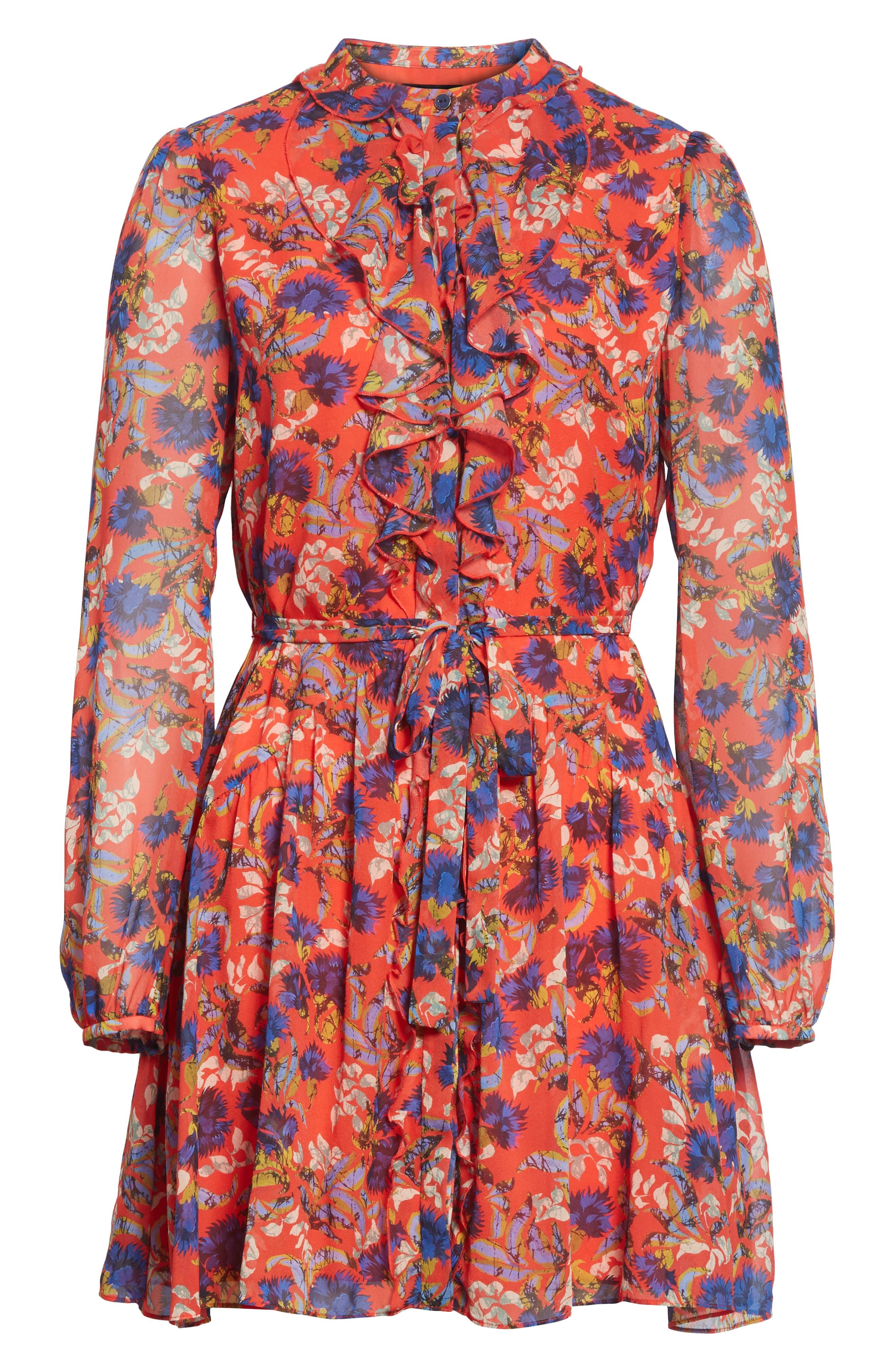 Tilly Ruffle Bib Silk Dress,                             Alternate thumbnail 6, color,                             FLAME AZALEA