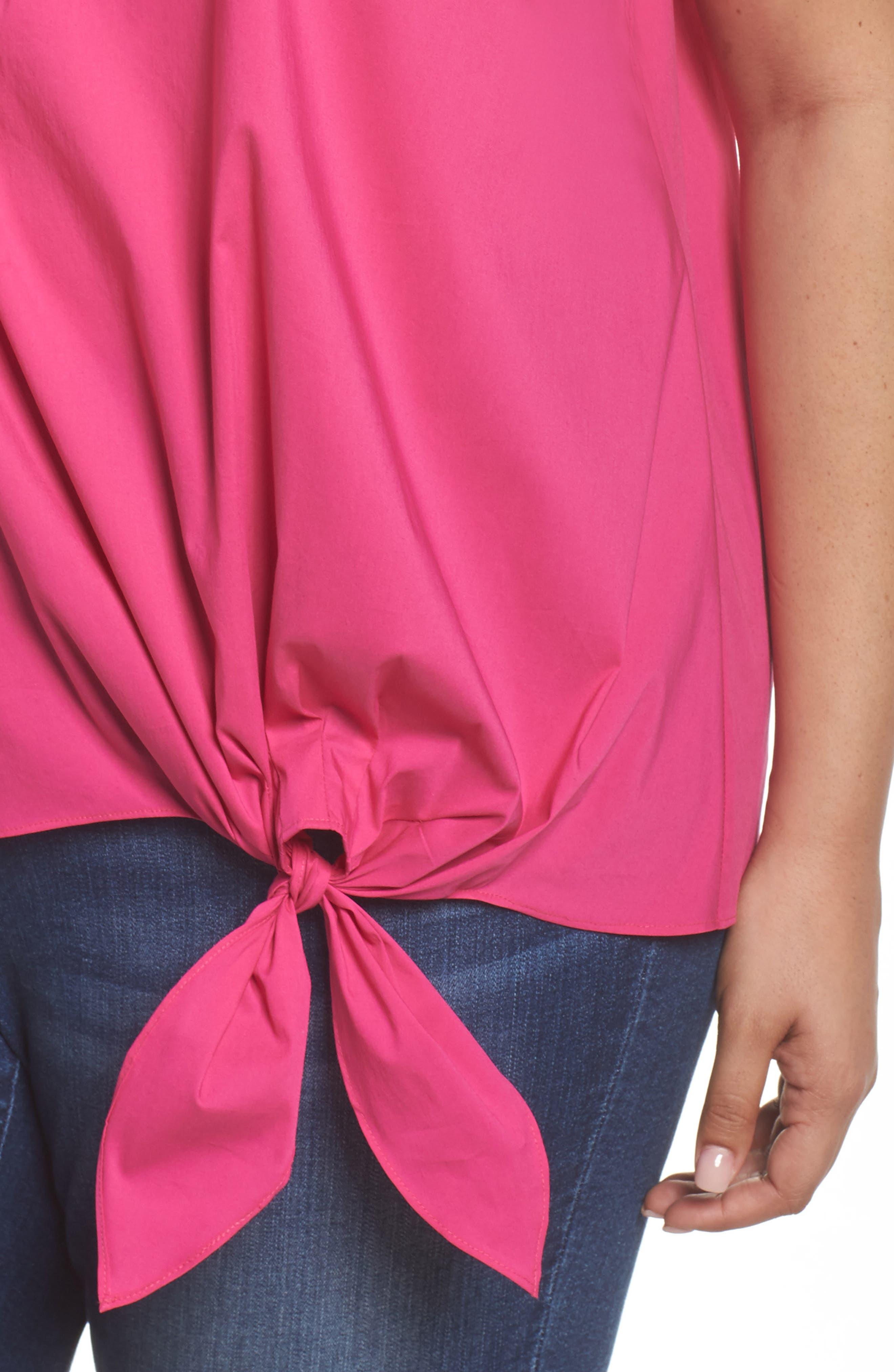 Side Tie Stretch Poplin Top,                             Alternate thumbnail 10, color,