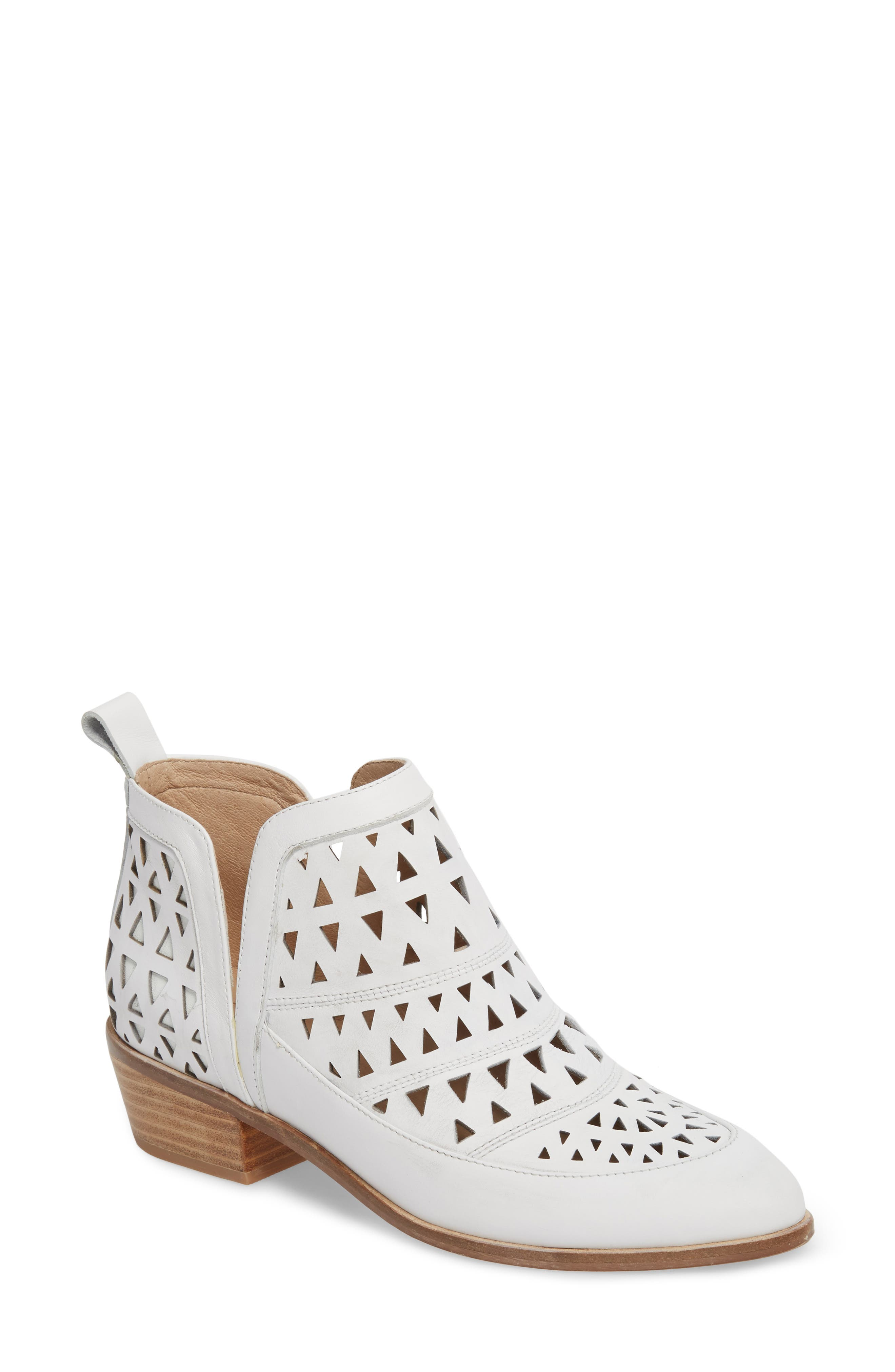 Catherine Cutout Bootie,                             Main thumbnail 1, color,                             WHITE LEATHER