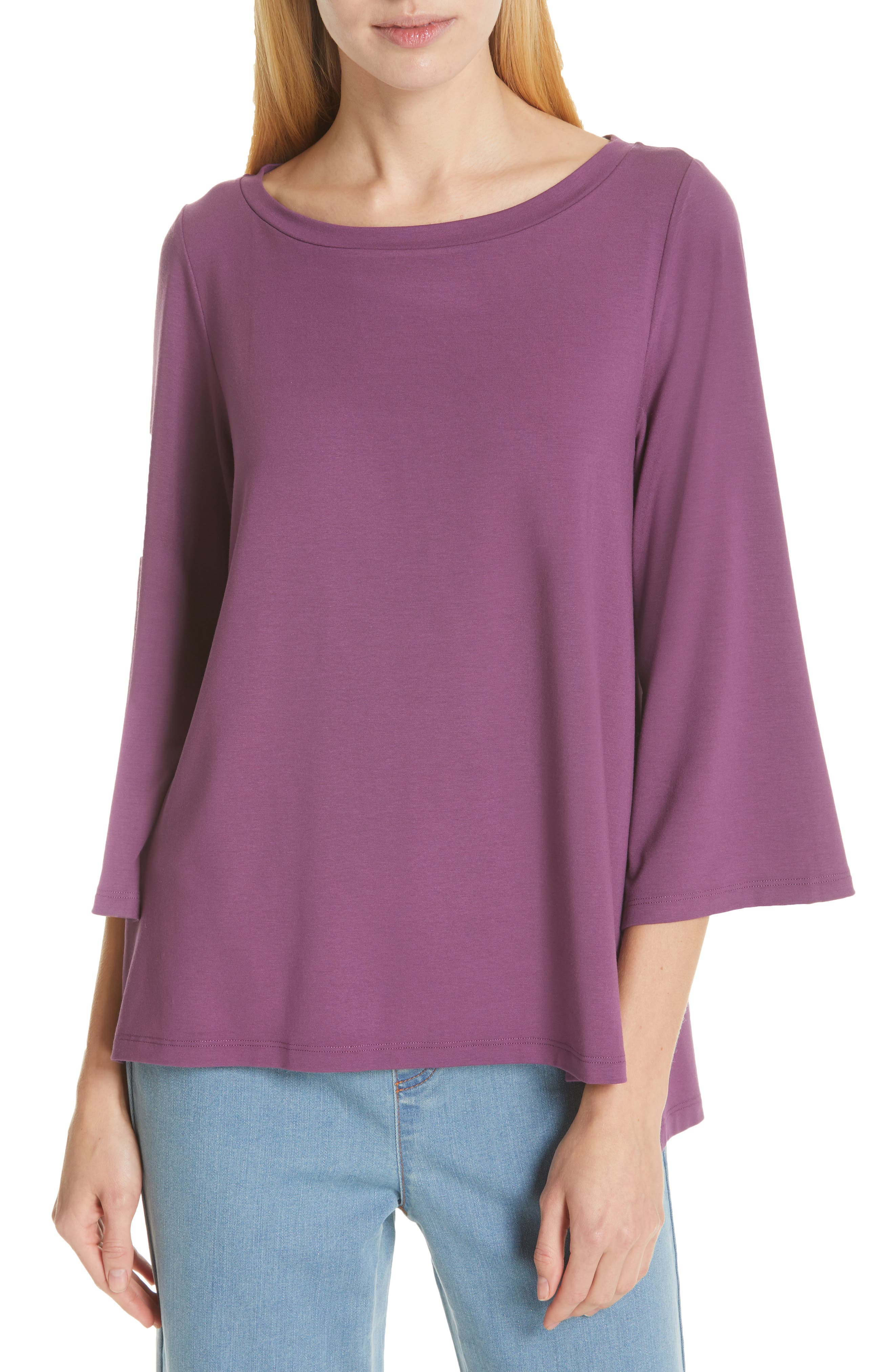 Flare Sleeve Top, Main, color, CURRANT