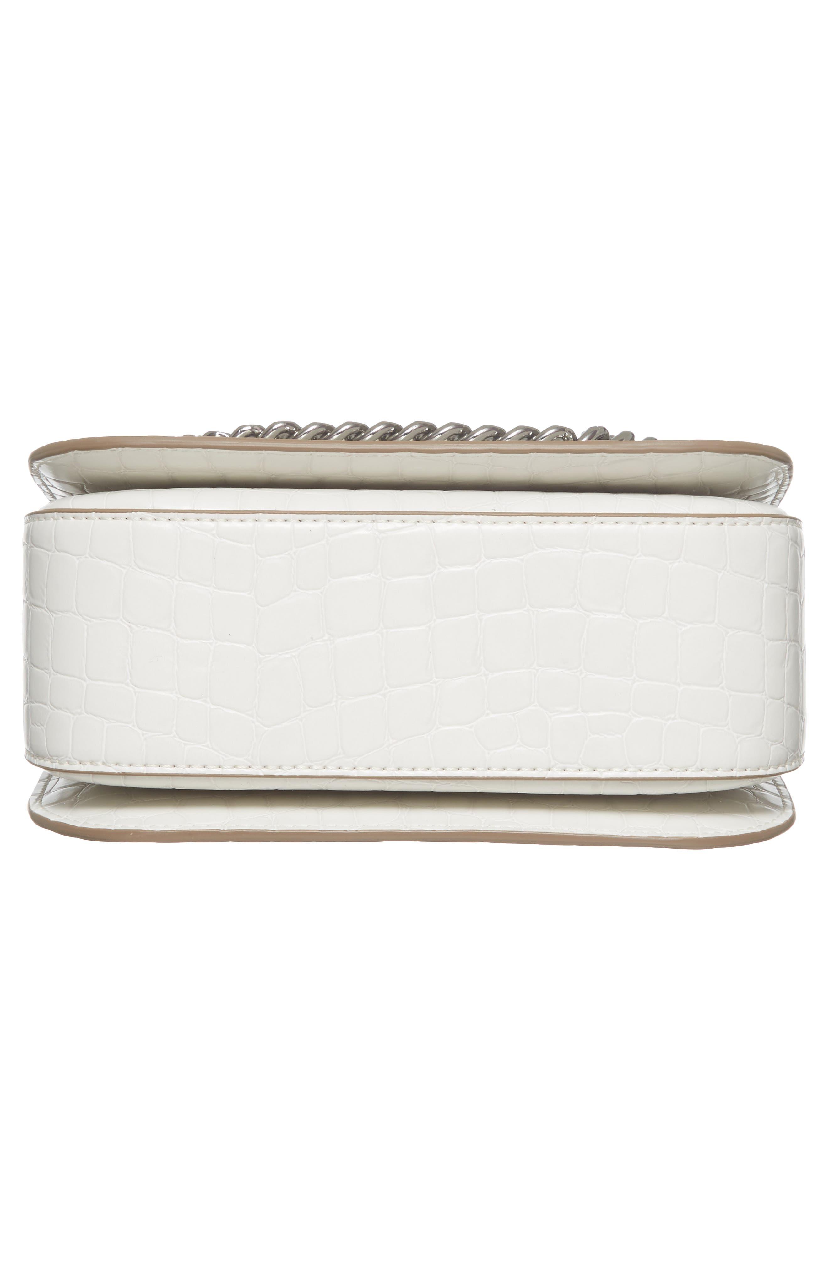 Medium Falabella Box Croc-Embossed Faux Leather Shoulder Bag,                             Alternate thumbnail 6, color,                             102