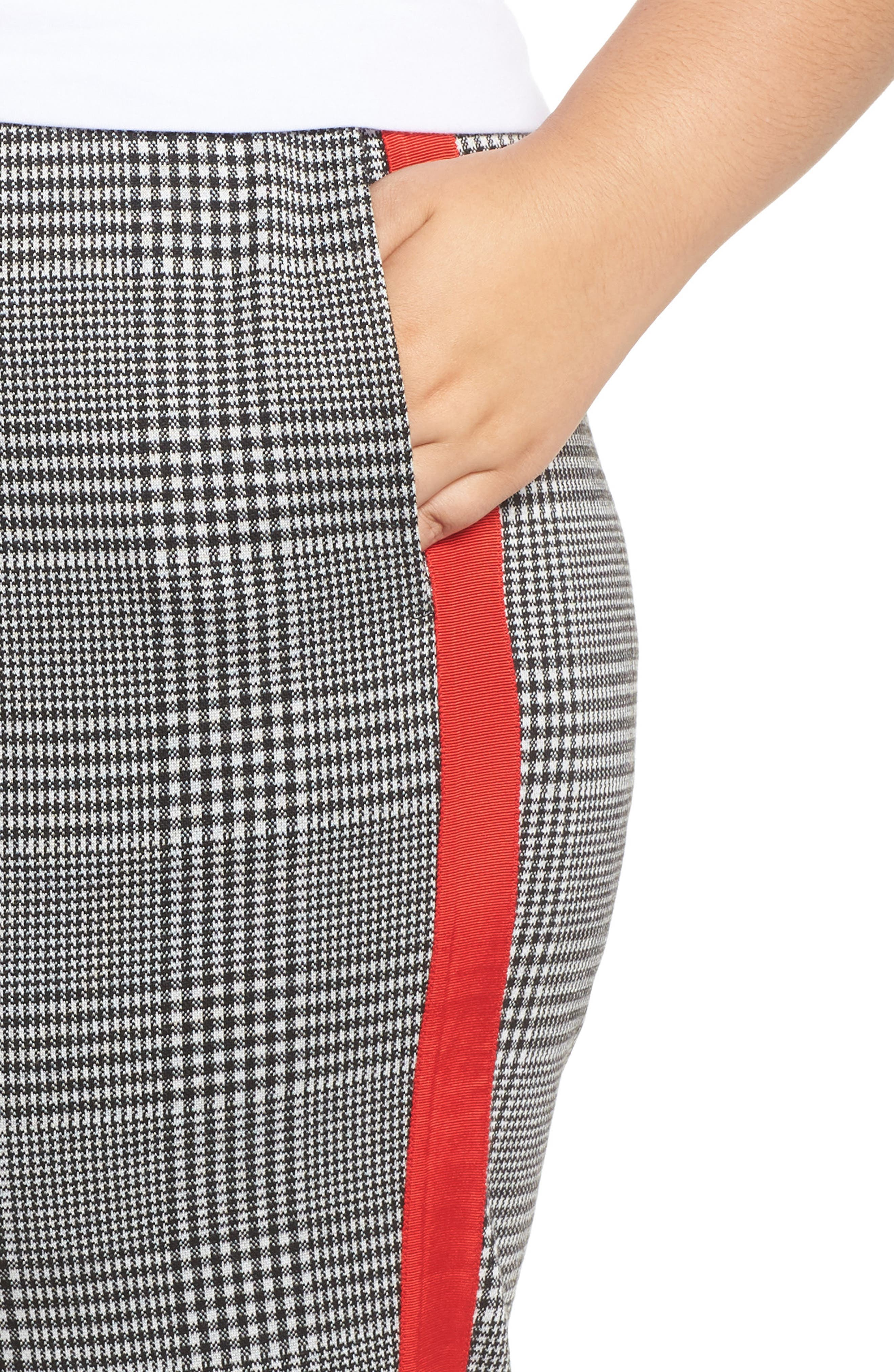 Side Stripe Glen Plaid Pants,                             Alternate thumbnail 4, color,                             BLACK GLEN CHECK