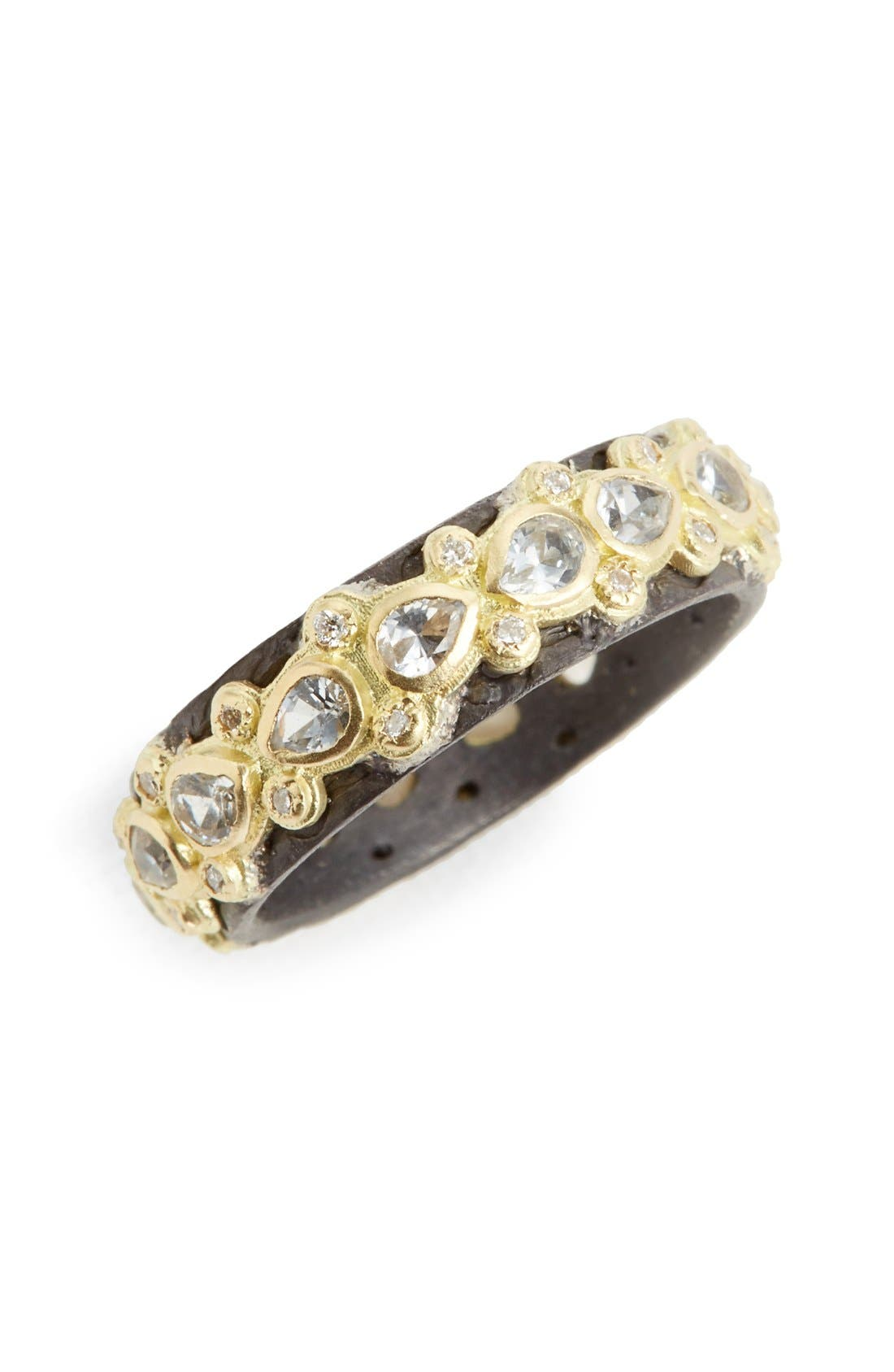 Old World Lacy Eternity Diamond & Sapphire Ring,                             Main thumbnail 1, color,                             GOLD