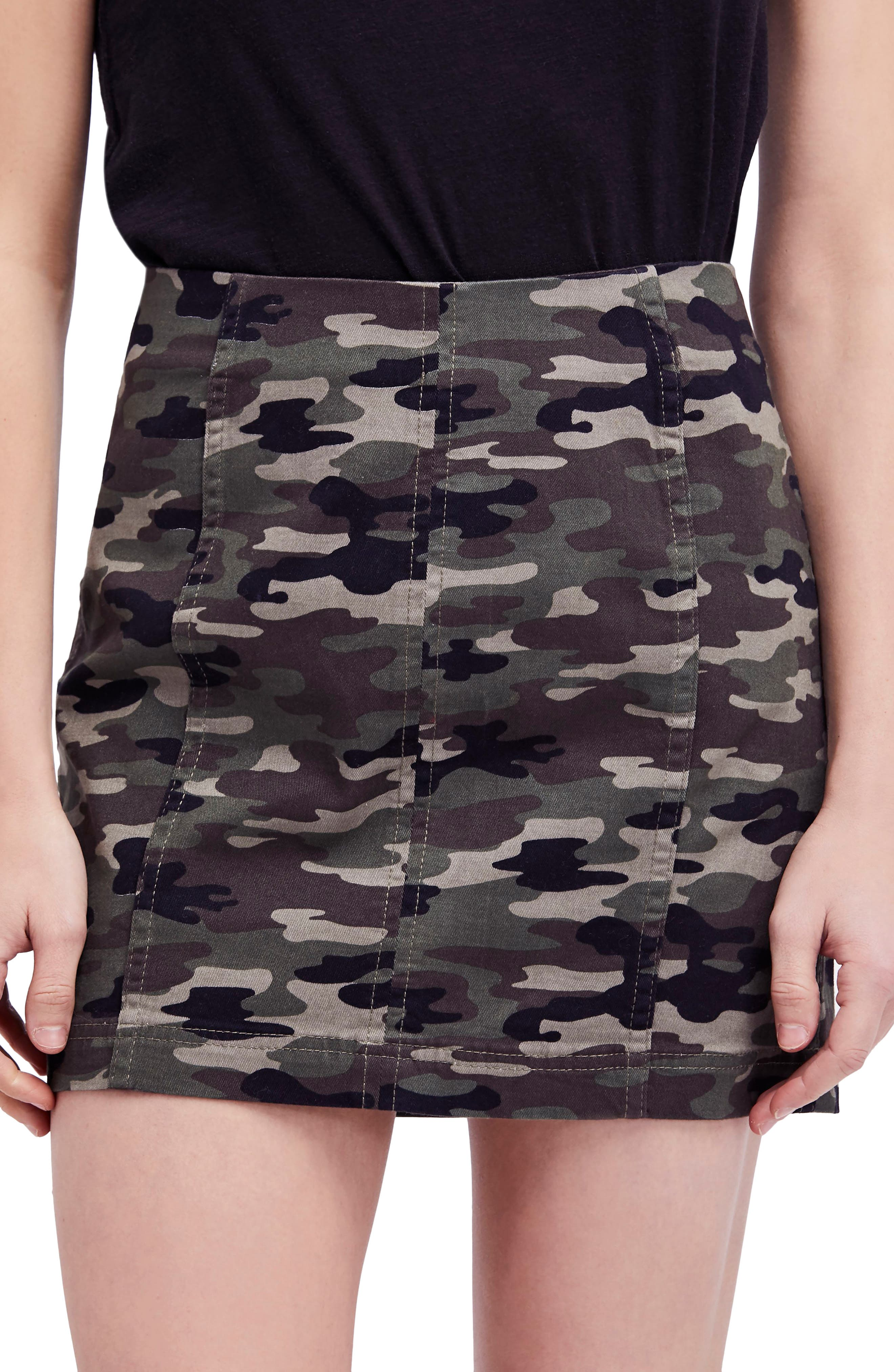 We the Free by Free People Modern Femme Camo Skirt,                             Main thumbnail 1, color,                             GREEN
