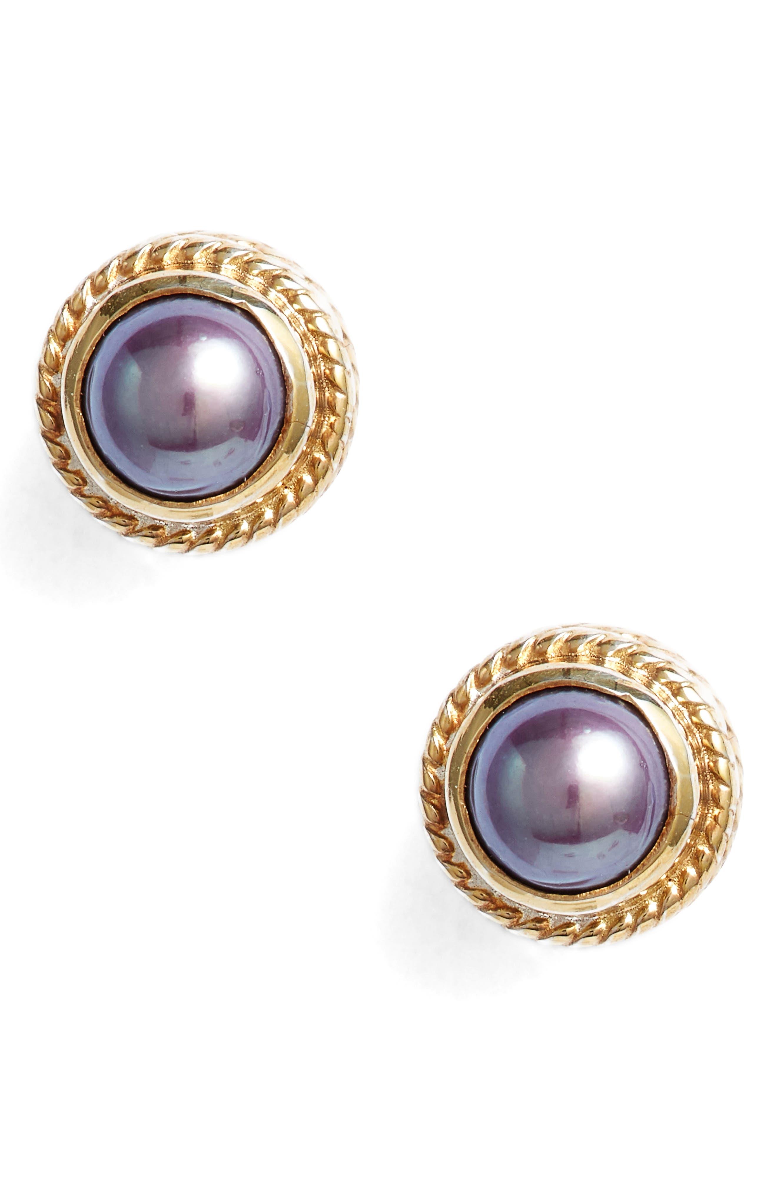Genuine Blue Pearl Stud Earrings,                         Main,                         color, 400