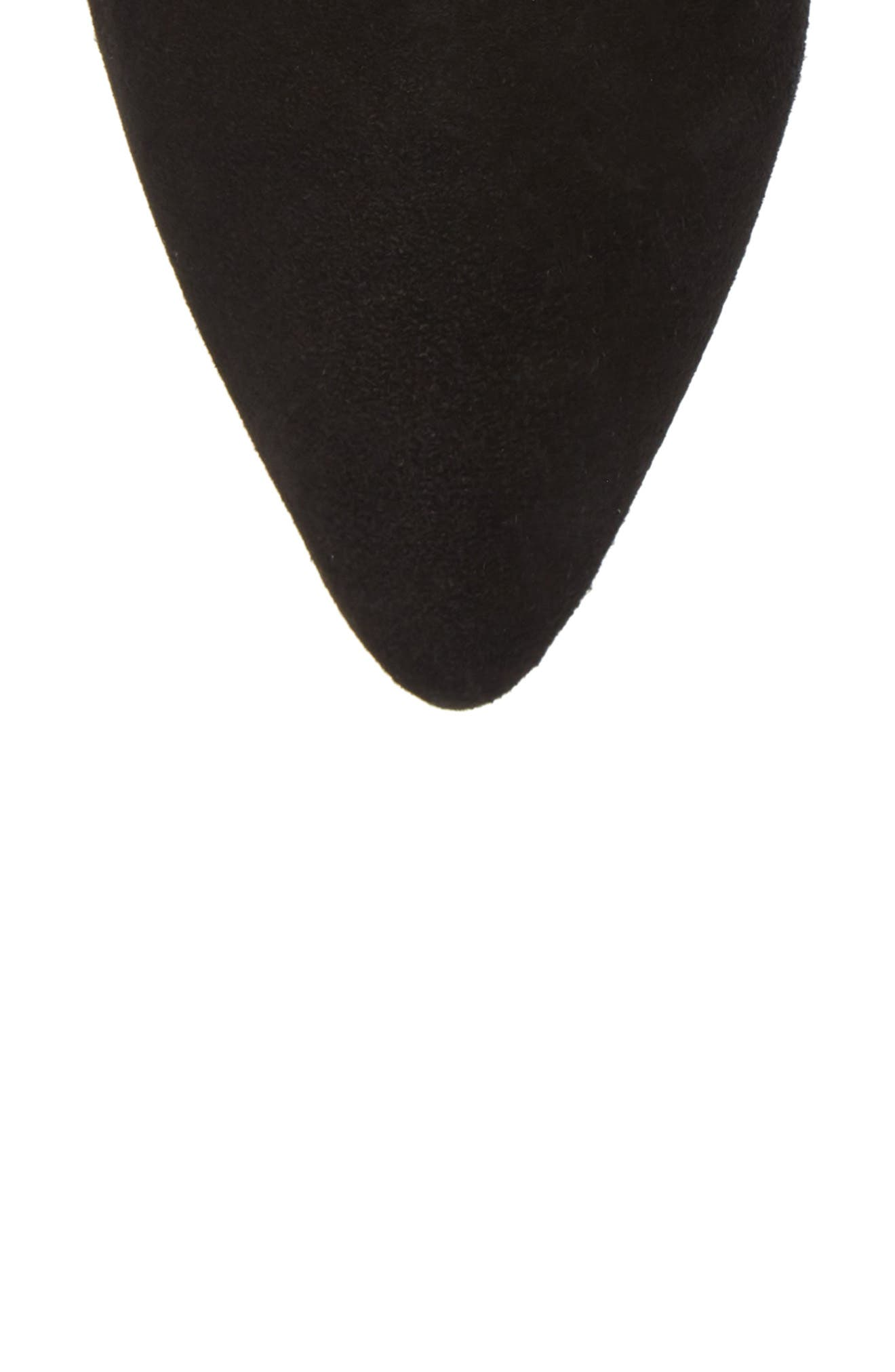 Cone Heel Bootie,                             Alternate thumbnail 5, color,                             PITCH BLACK COMBO SUEDE