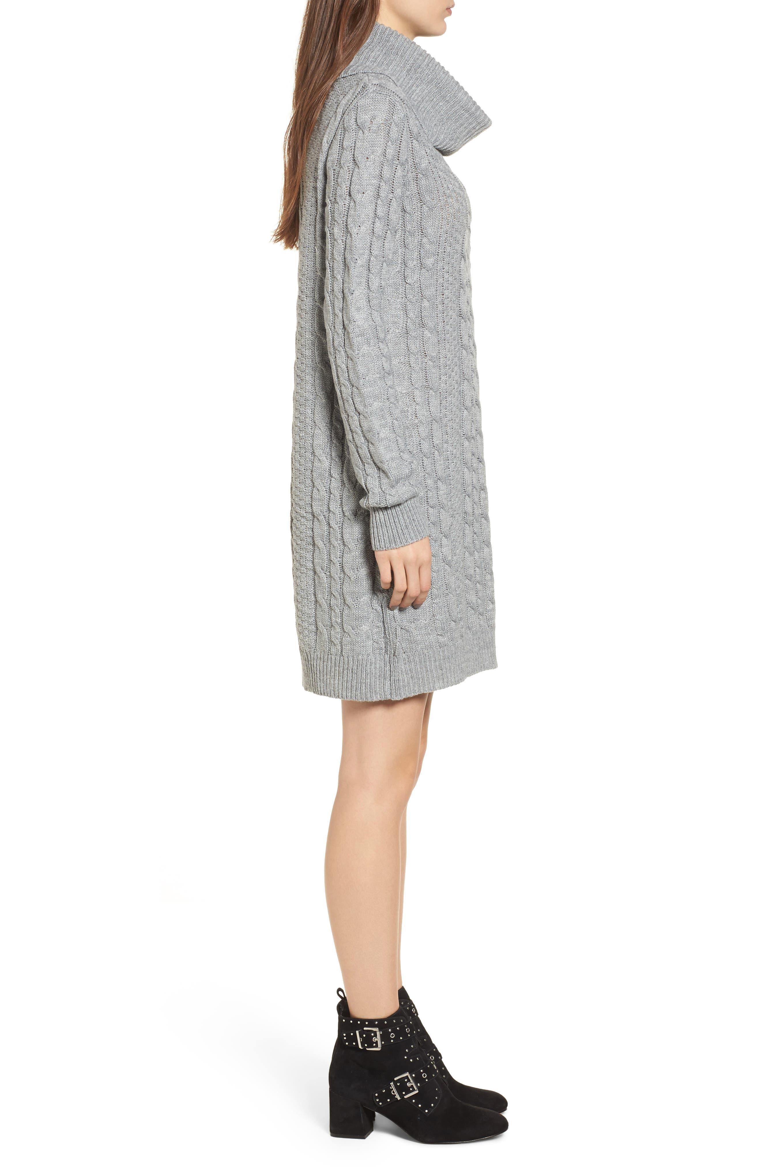 Cowl Neck Sweater Dress,                             Alternate thumbnail 3, color,                             020