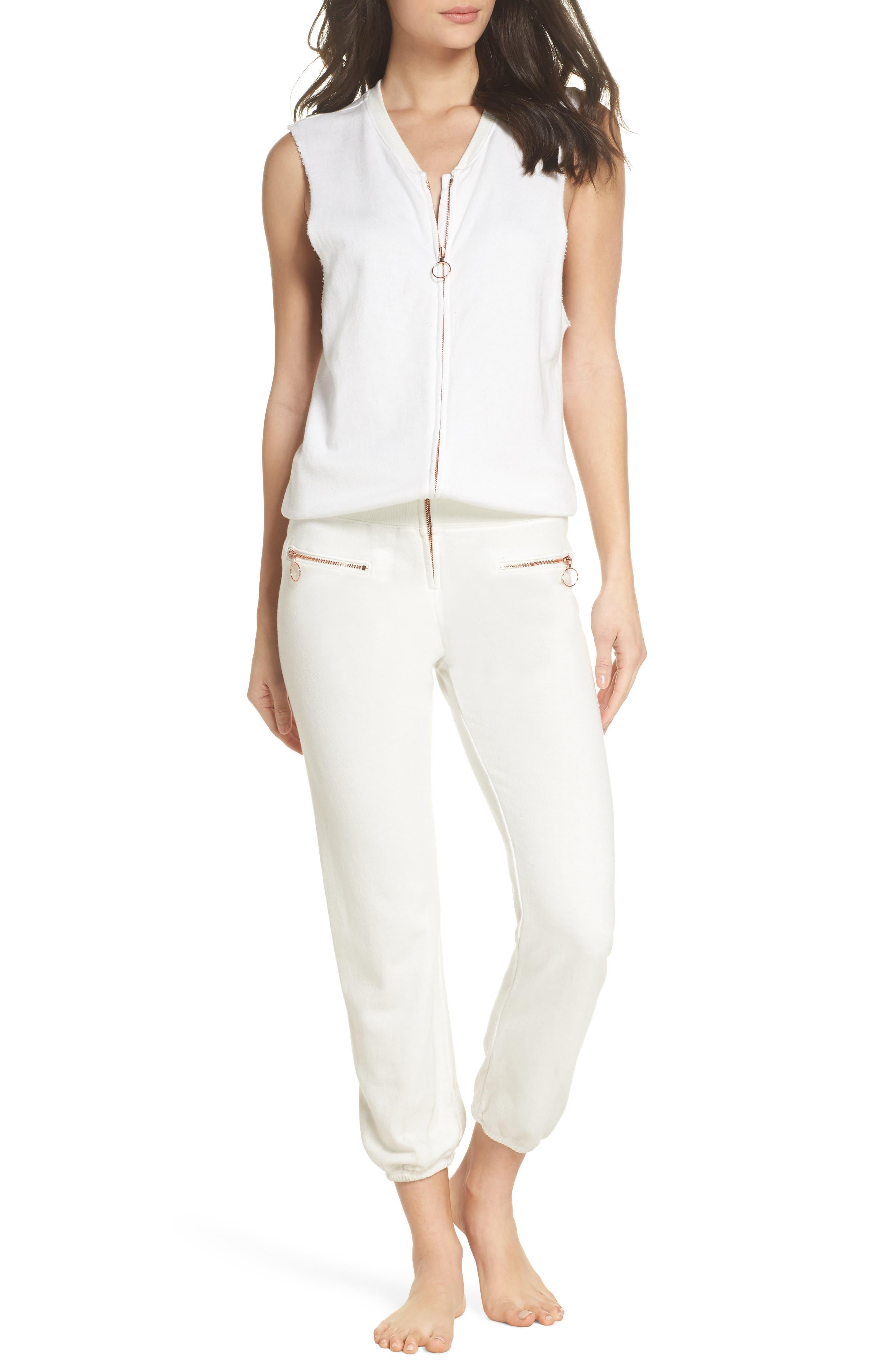 Zip Front Lounge Jumpsuit,                             Main thumbnail 1, color,                             WHITE