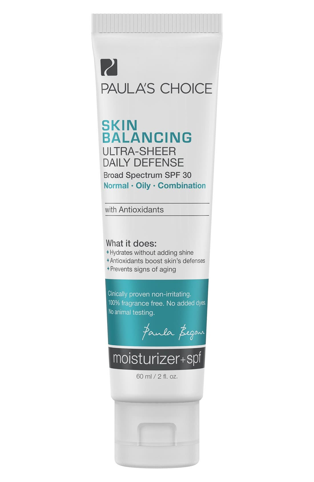 Skin Balancing Ultra-Sheer Daily Defense SPF 30,                         Main,                         color, NO COLOR