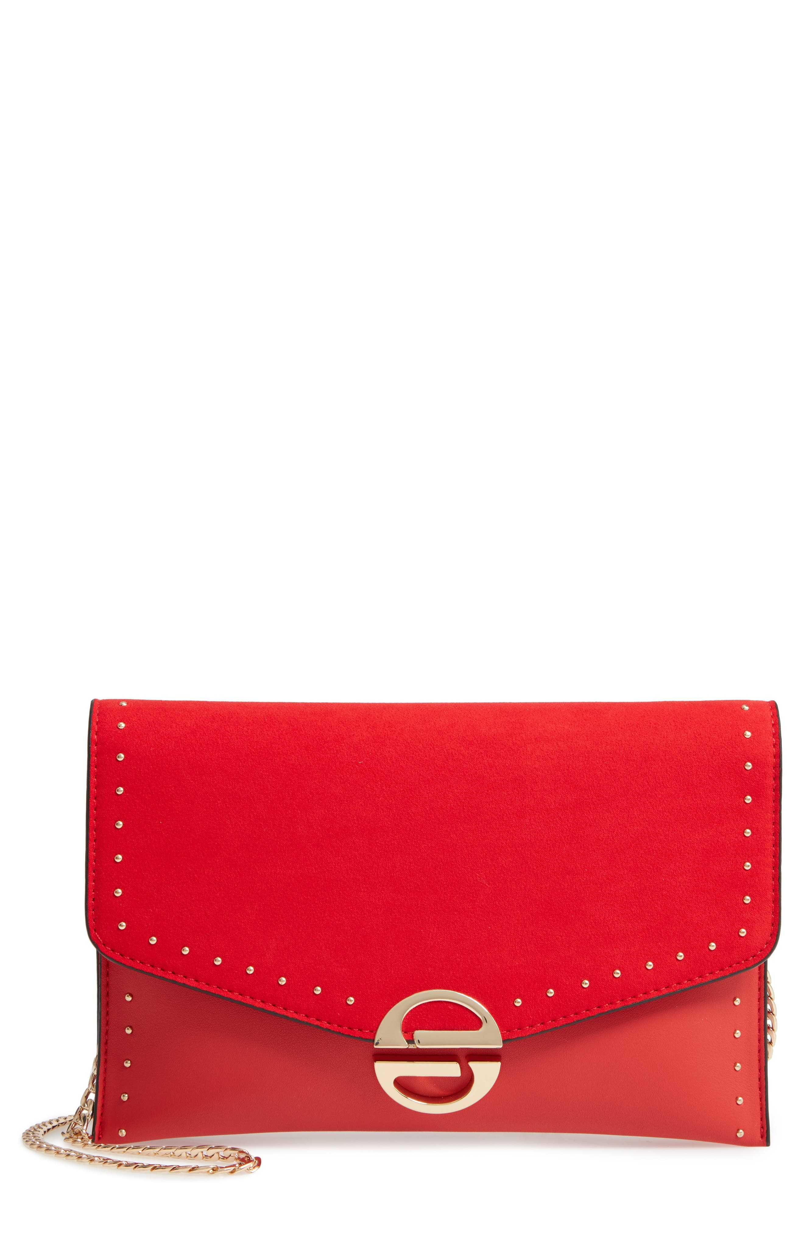 Candice Studded Faux Leather Clutch by Topshop