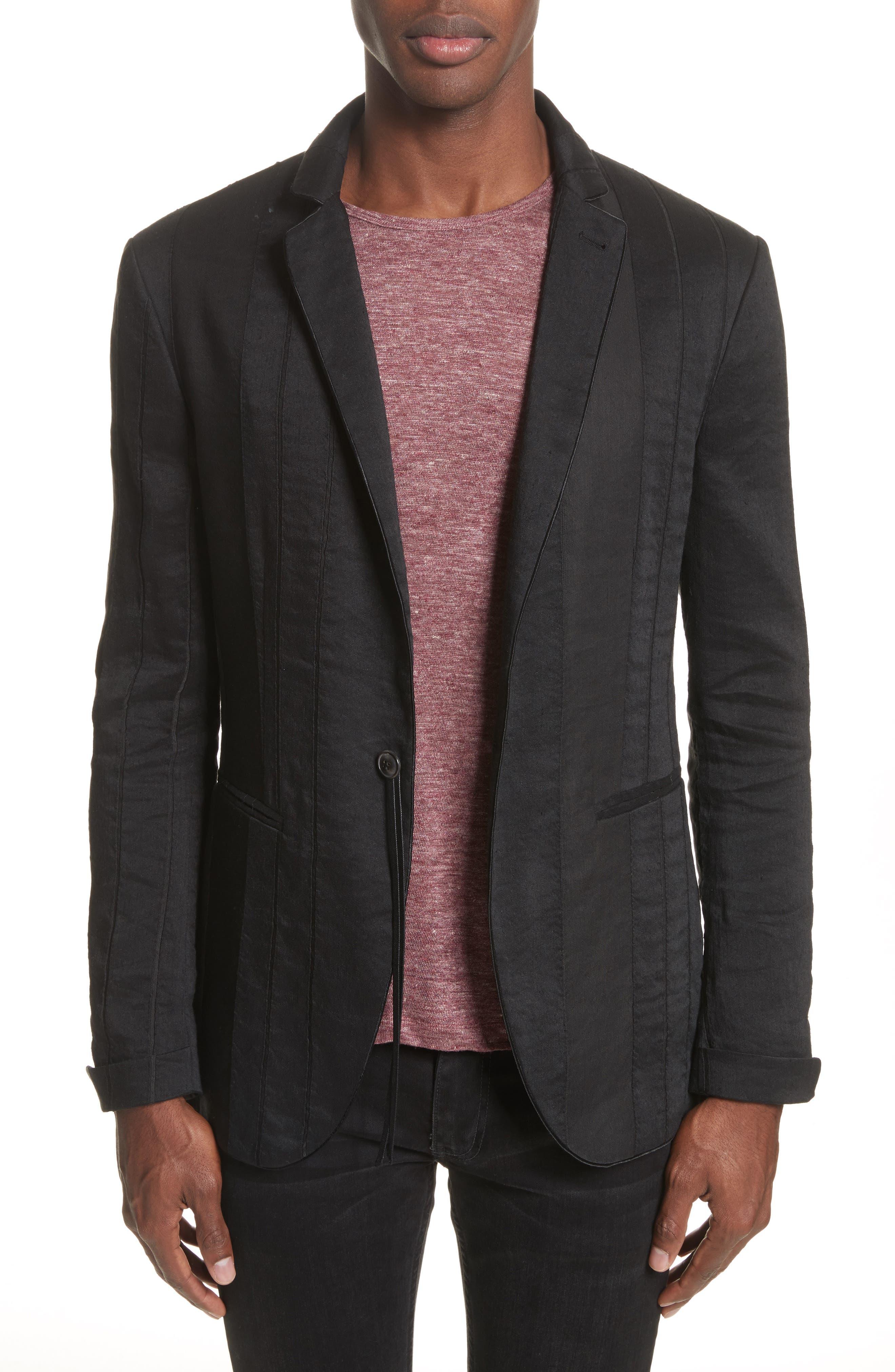 Slim Fit Linen Blend Blazer,                         Main,                         color, BLACK