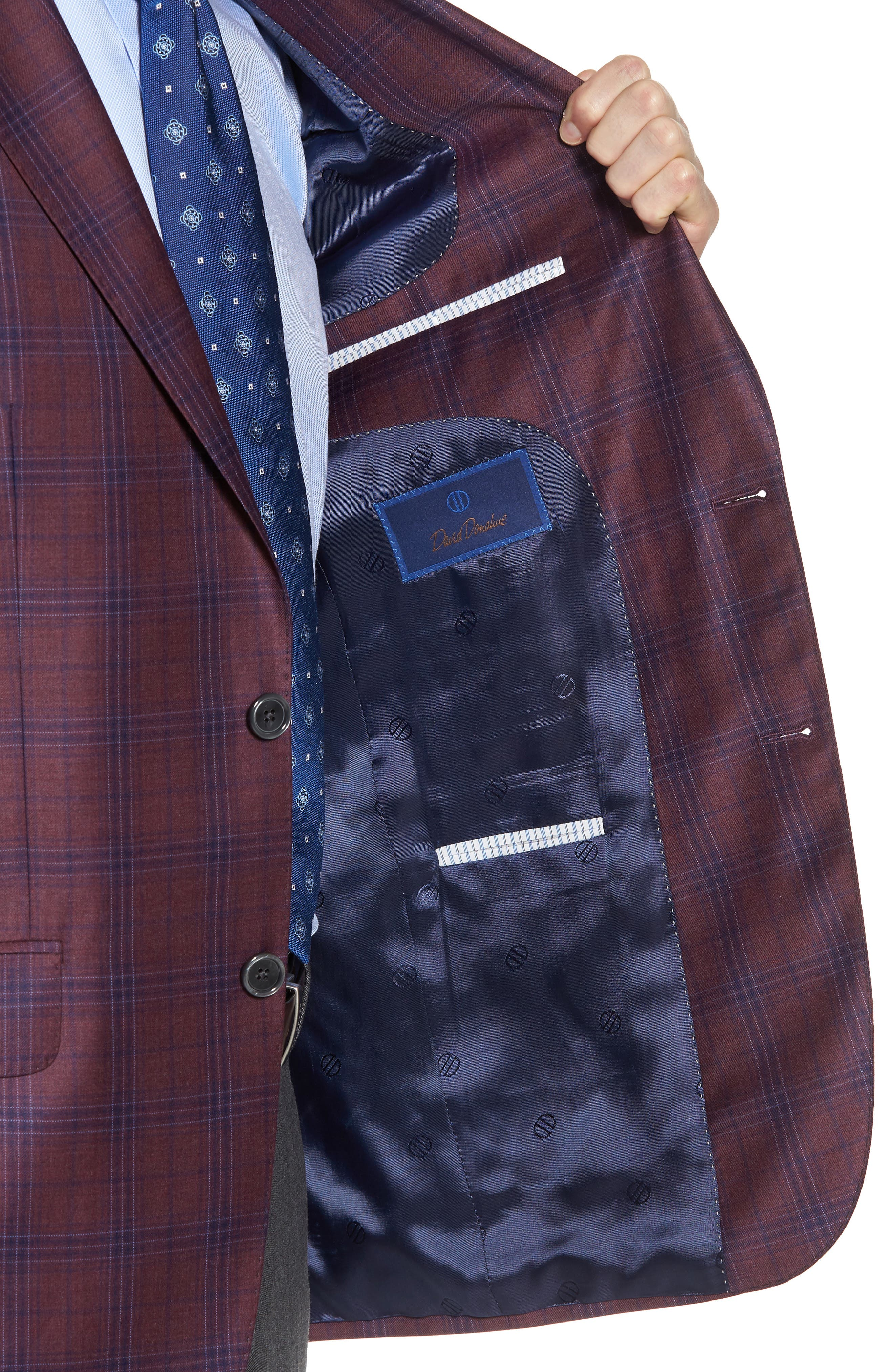 Connor Classic Fit Plaid Wool Sport Coat,                             Alternate thumbnail 4, color,                             930