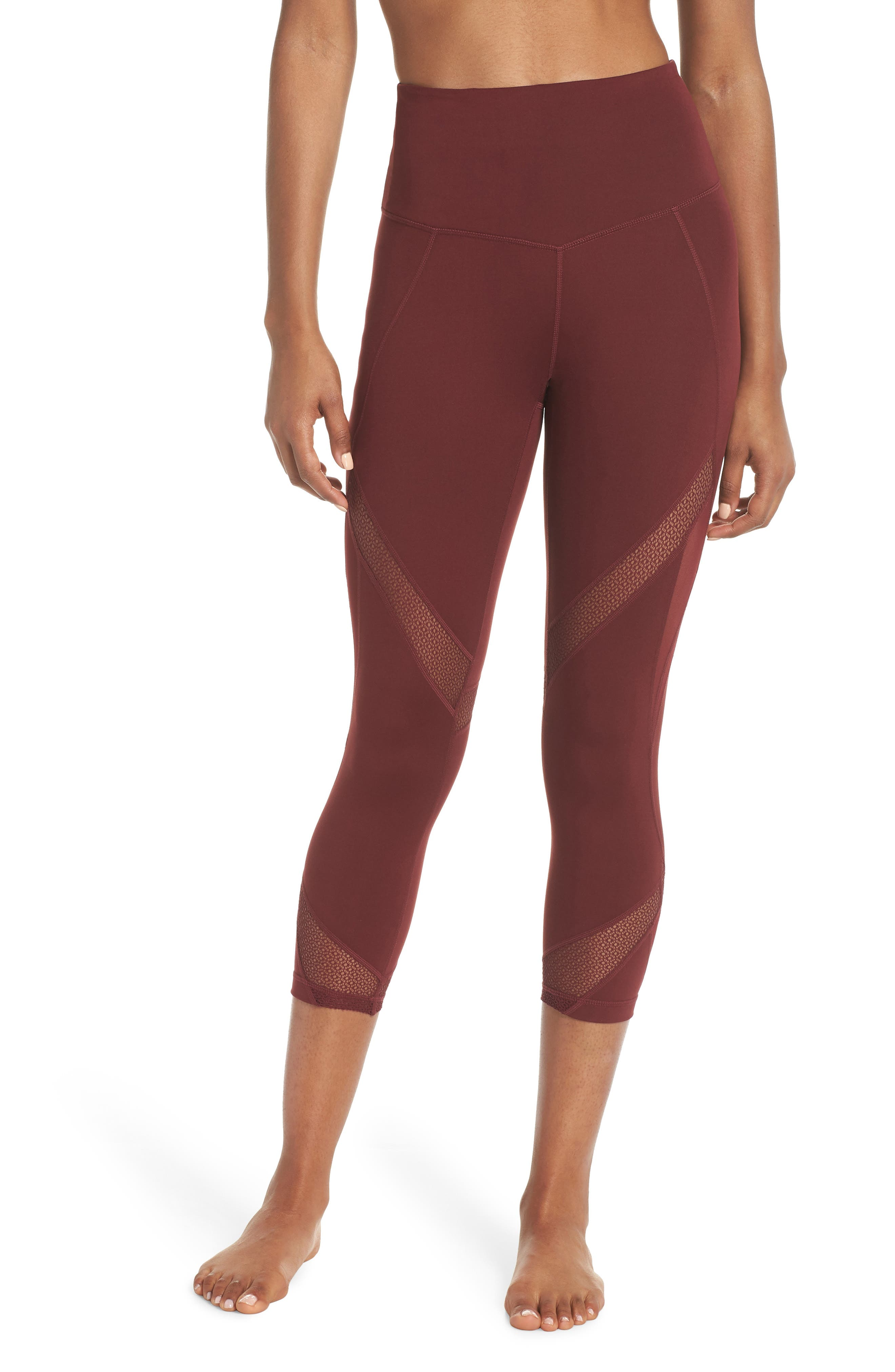 Moroccan High Waist Crop Leggings,                         Main,                         color, RED TANNIN