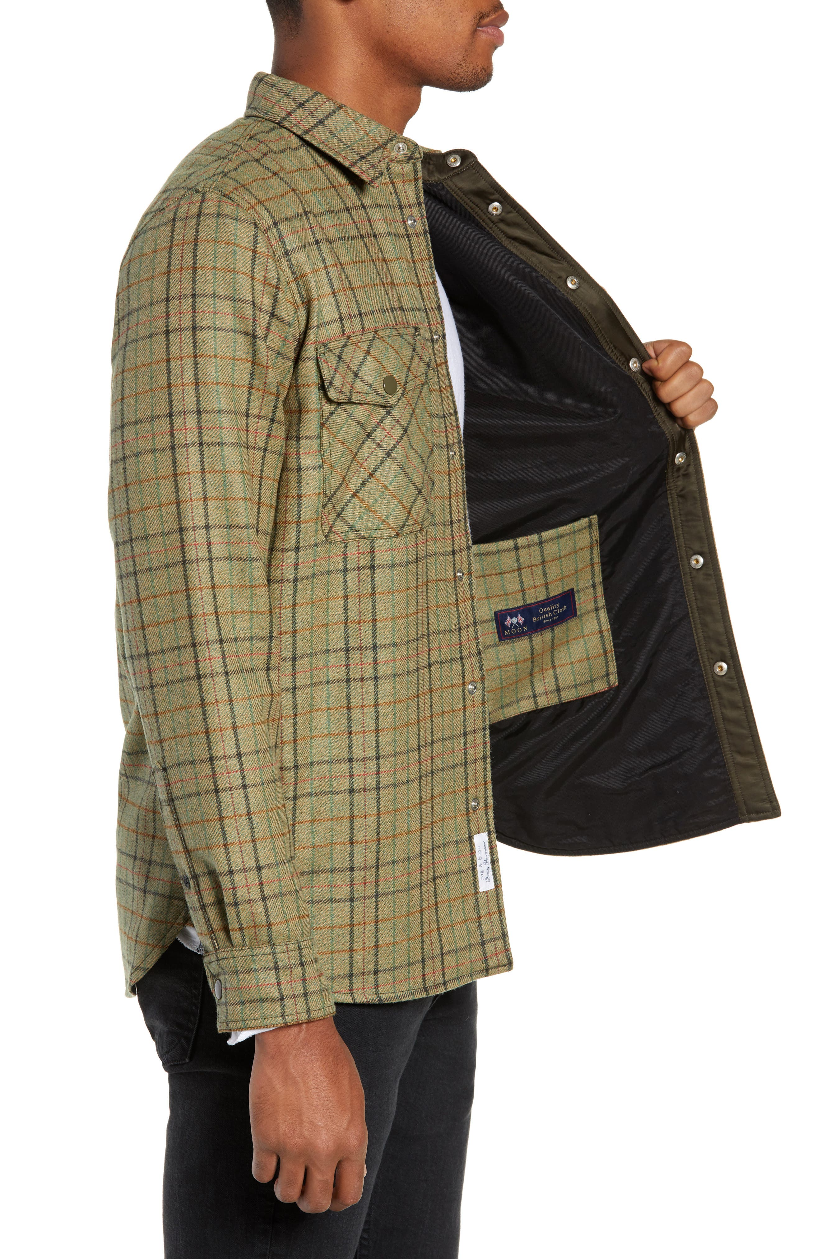 Jack Plaid Wool Overshirt,                             Alternate thumbnail 3, color,                             OLIVE MULTI