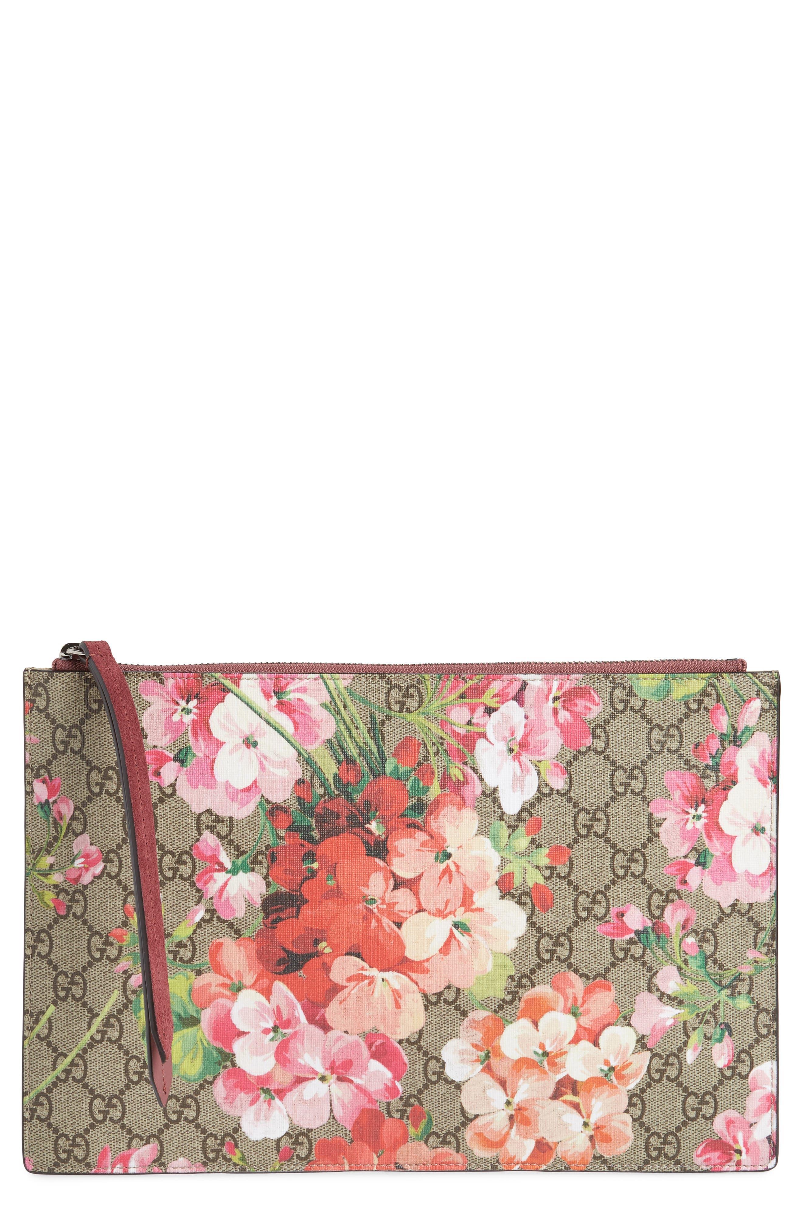 GG Blooms Large Canvas & Suede Pouch,                             Main thumbnail 1, color,                             250