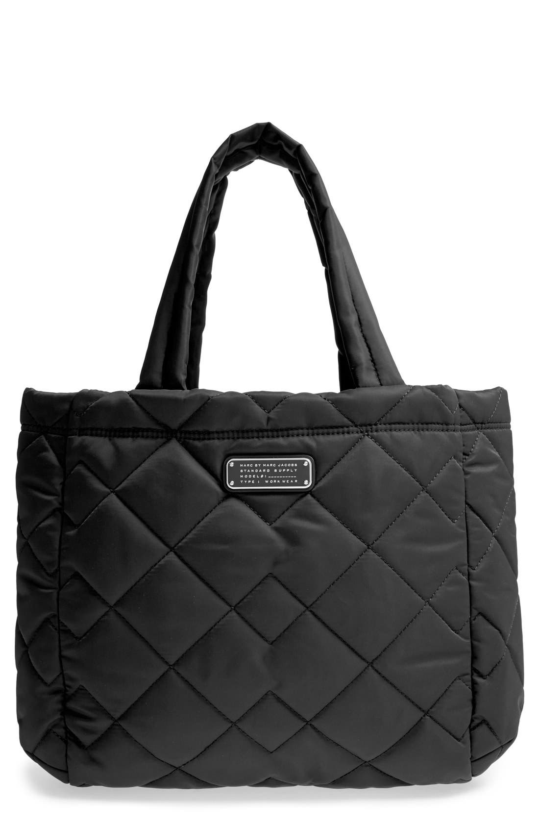 MARC BY MARC JACOBS 'Small Crosby' Quilted Nylon Tote, Main, color, 001