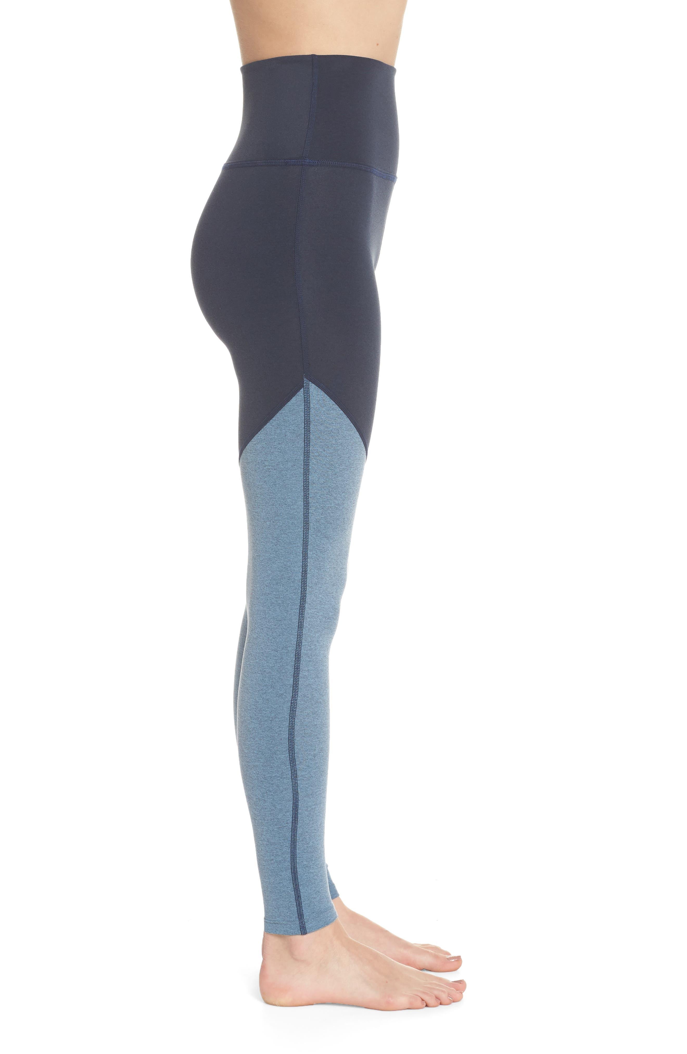 Angled High Waist Leggings,                             Alternate thumbnail 3, color,                             NOCTURNAL NAVY/ LIGHT BLUE