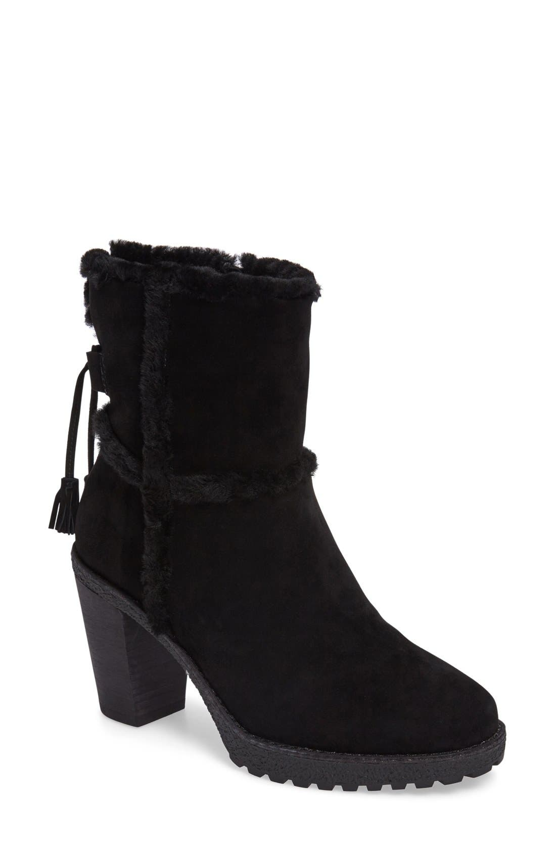 Jen Genuine Shearling Lined Water Resistant Boot,                             Main thumbnail 1, color,                             001