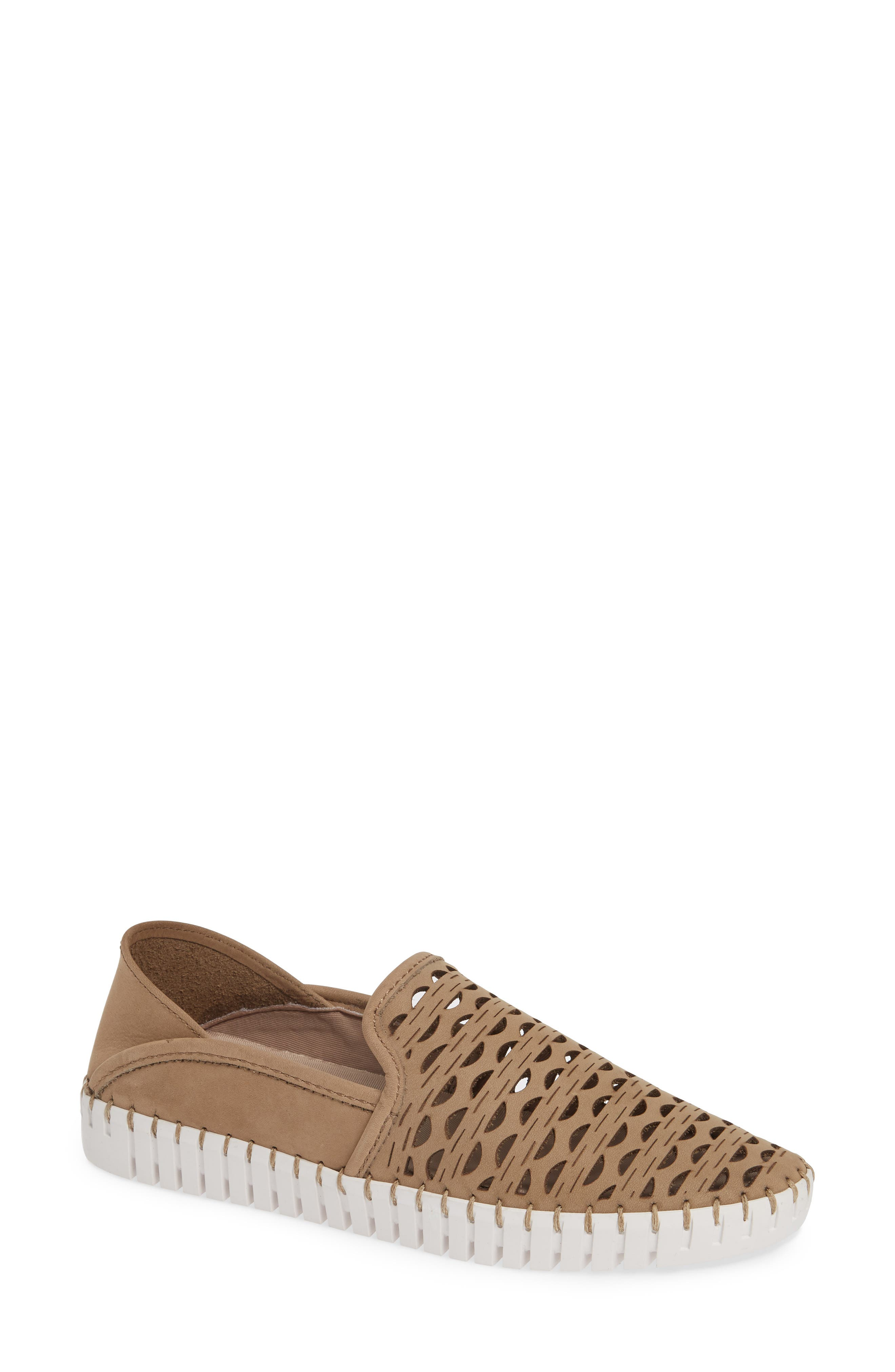 Janelle Perforated Slip-On in Sand Perf Nubuck