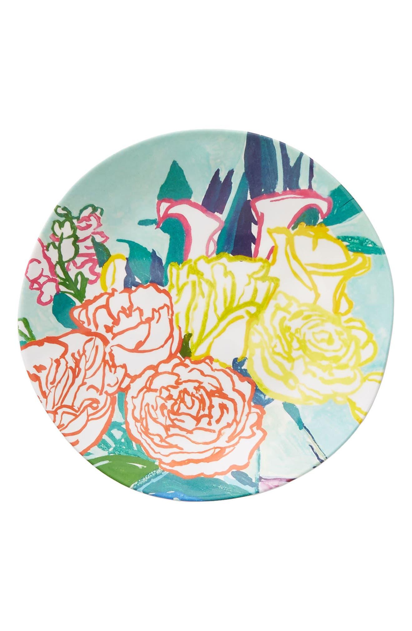 Paint + Petals Melamine Plate,                             Alternate thumbnail 3, color,                             TURQUOISE