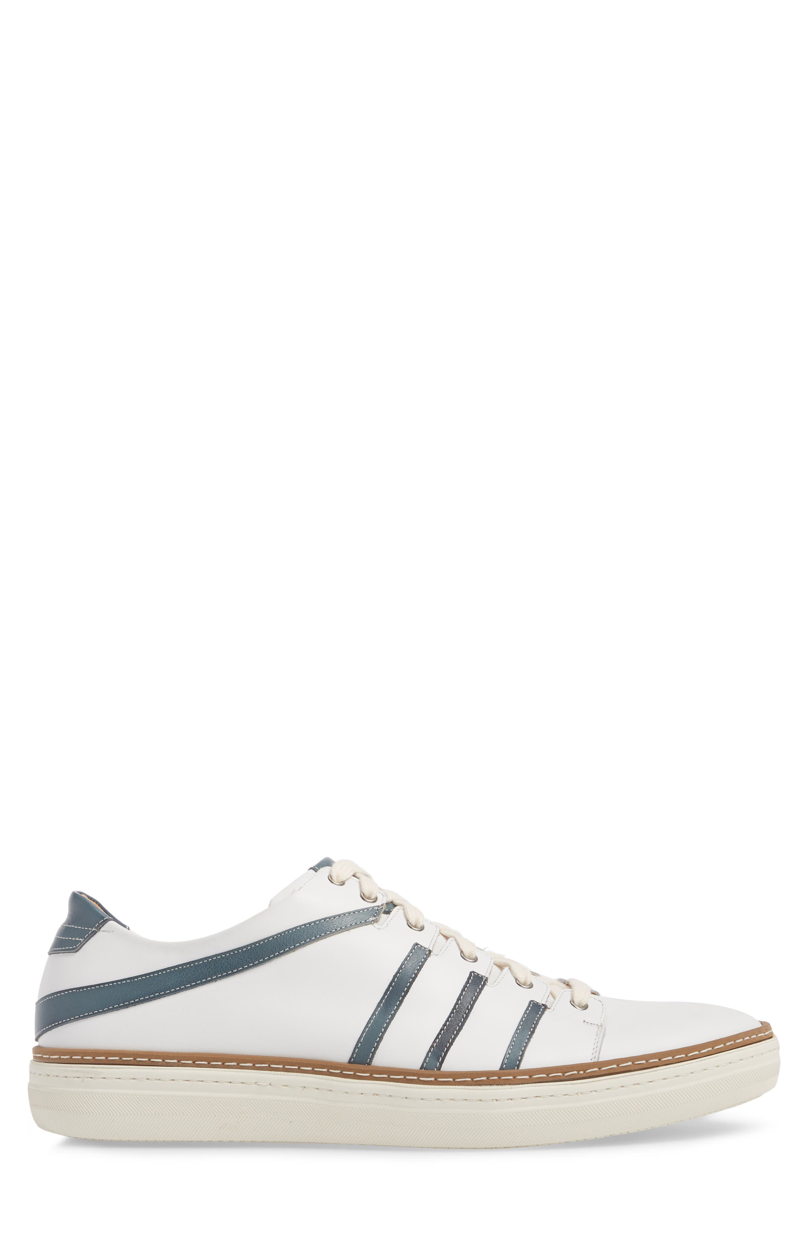 Tebas Striped Low Top Sneaker,                             Alternate thumbnail 3, color,                             WHITE/ JEANS LEATHER