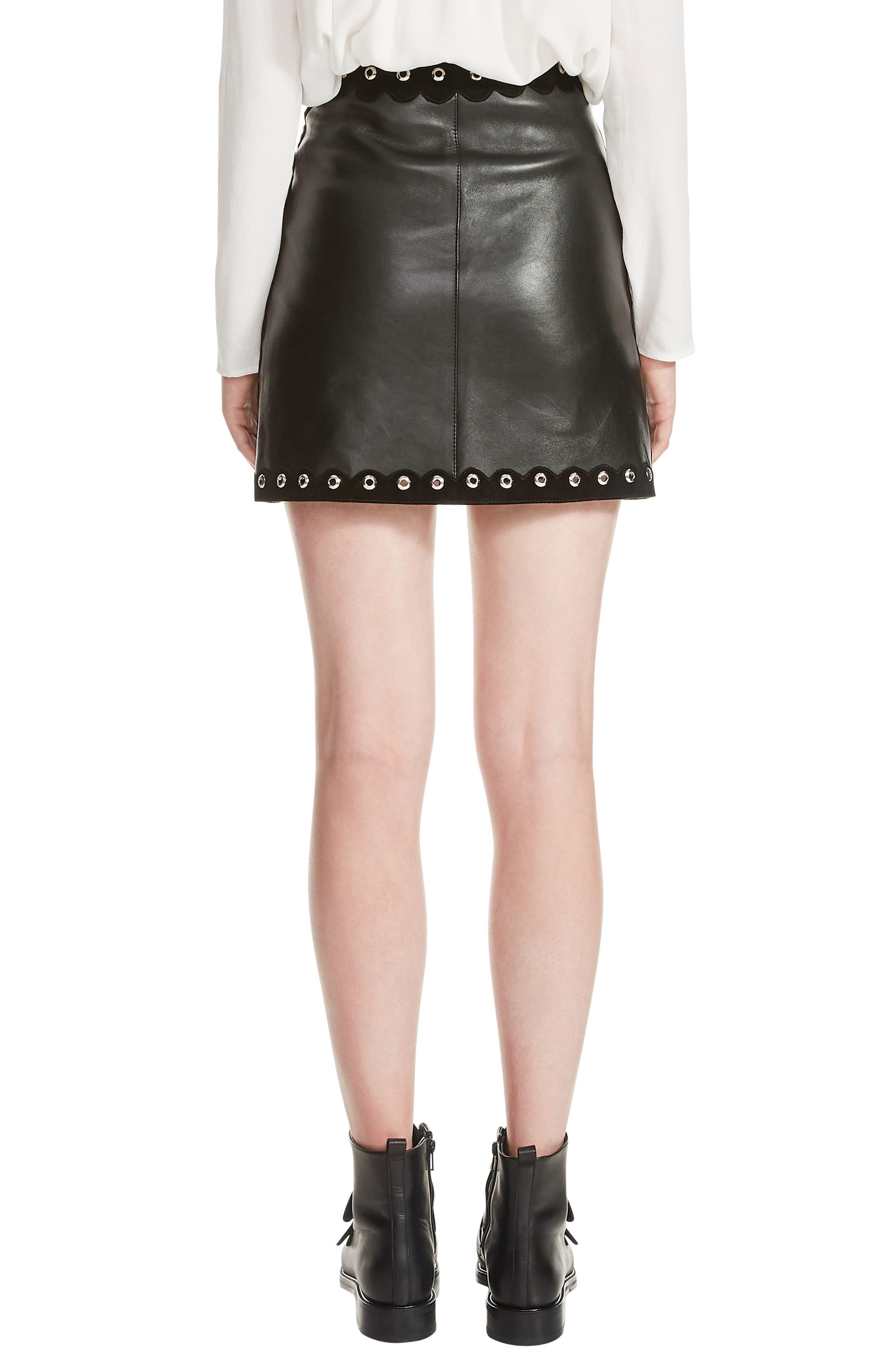 Jarisco Leather Miniskirt,                             Alternate thumbnail 2, color,