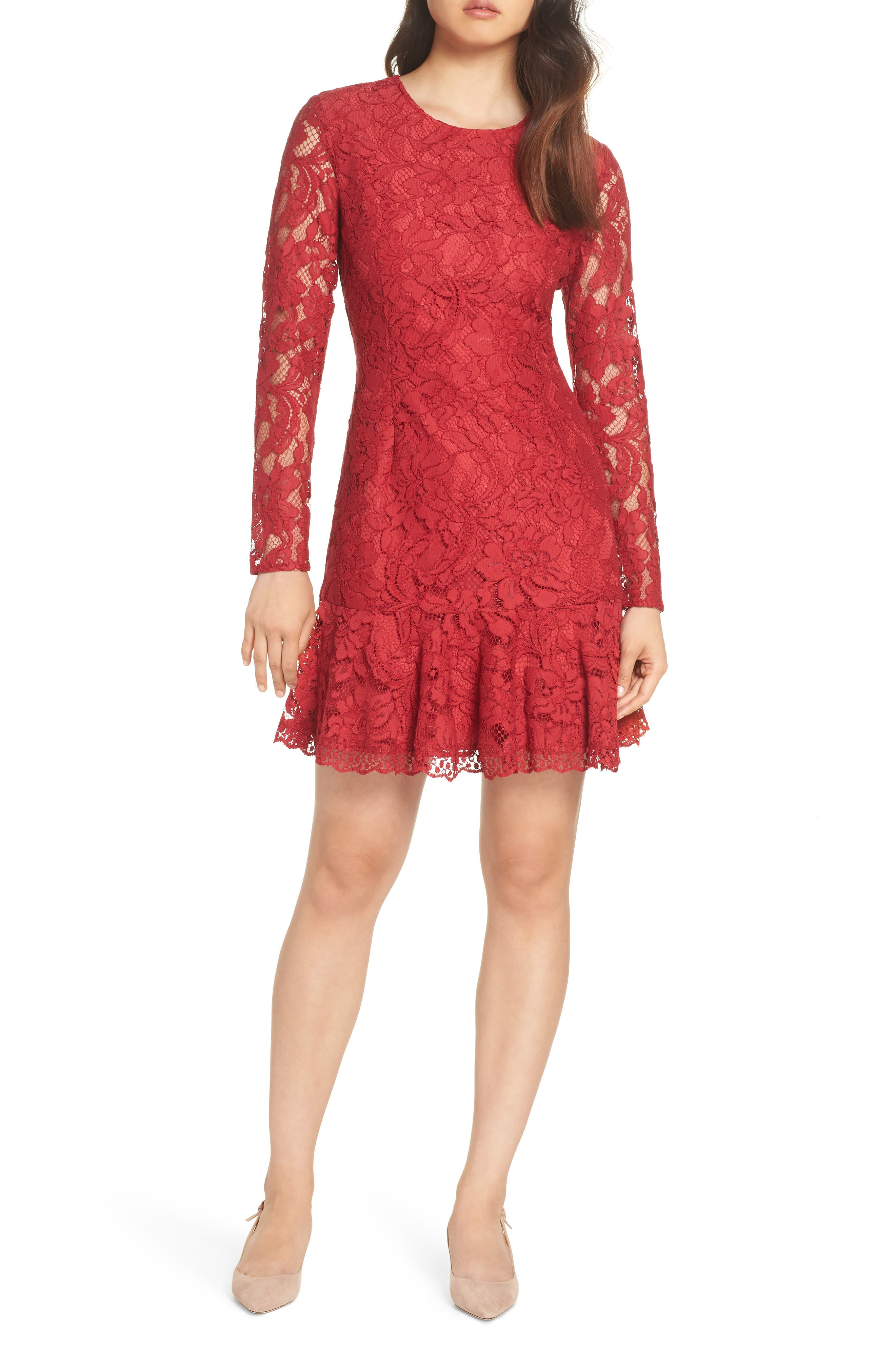 Lace Fit & Flare Dress,                             Main thumbnail 1, color,                             LIPSTICK RED