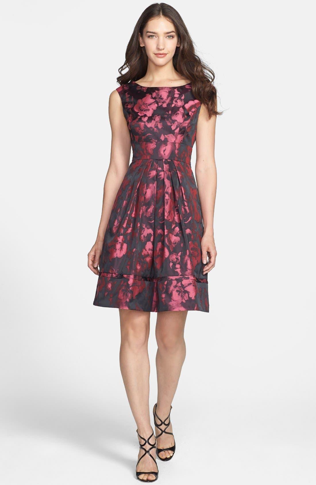 Jacquard Fit & Flare Dress,                             Main thumbnail 1, color,                             660