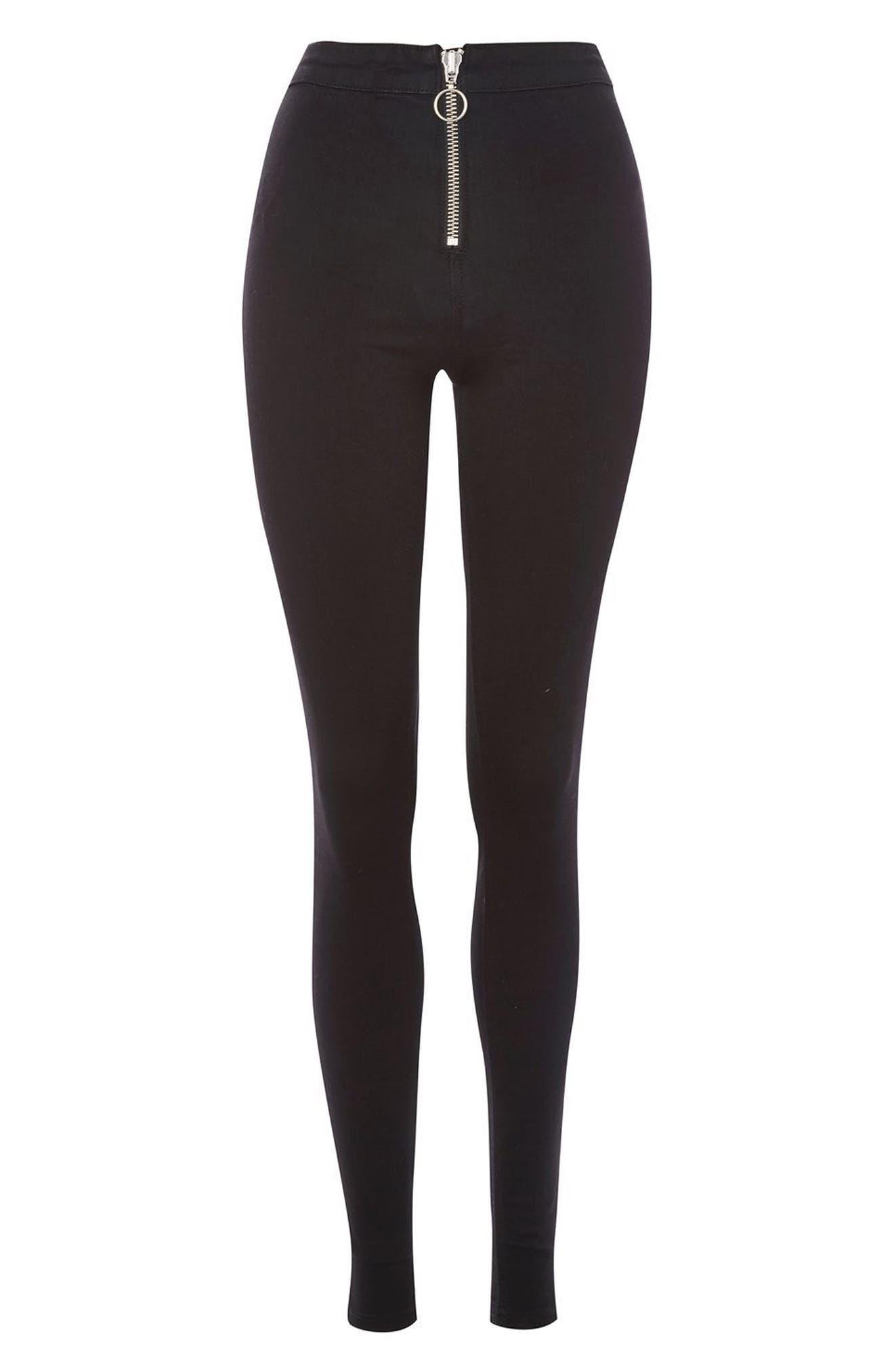 Joni High Rise Zip Front Super Skinny Jeans,                             Alternate thumbnail 3, color,                             001