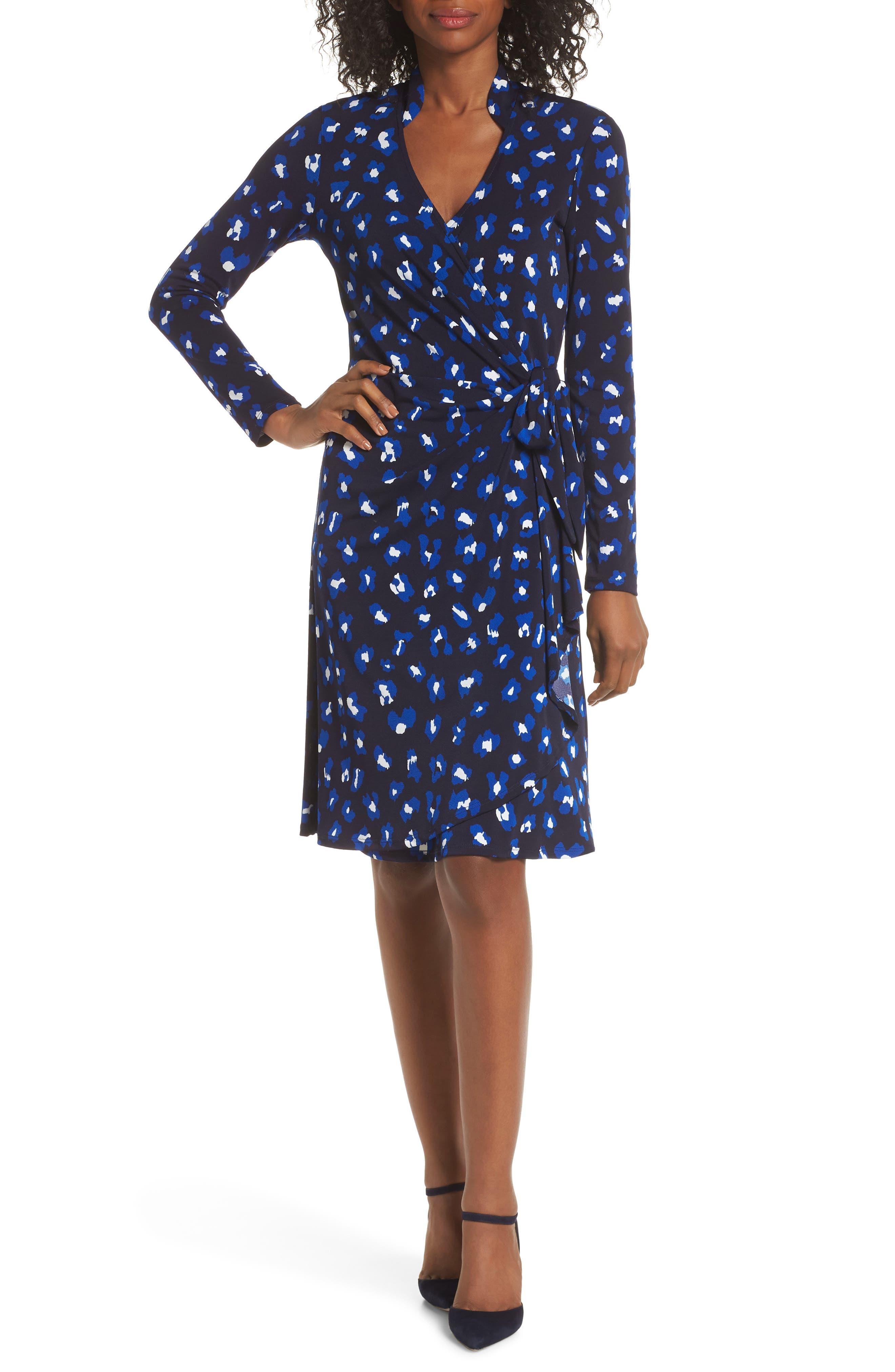 Leota Gabrielle Wrap Dress, Blue