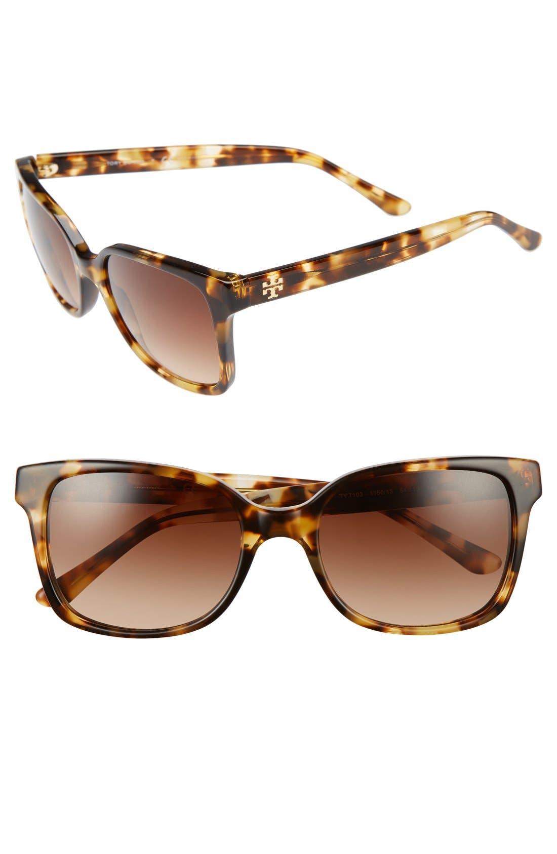 54mm Sunglasses,                         Main,                         color, LIGHT TORTOISE