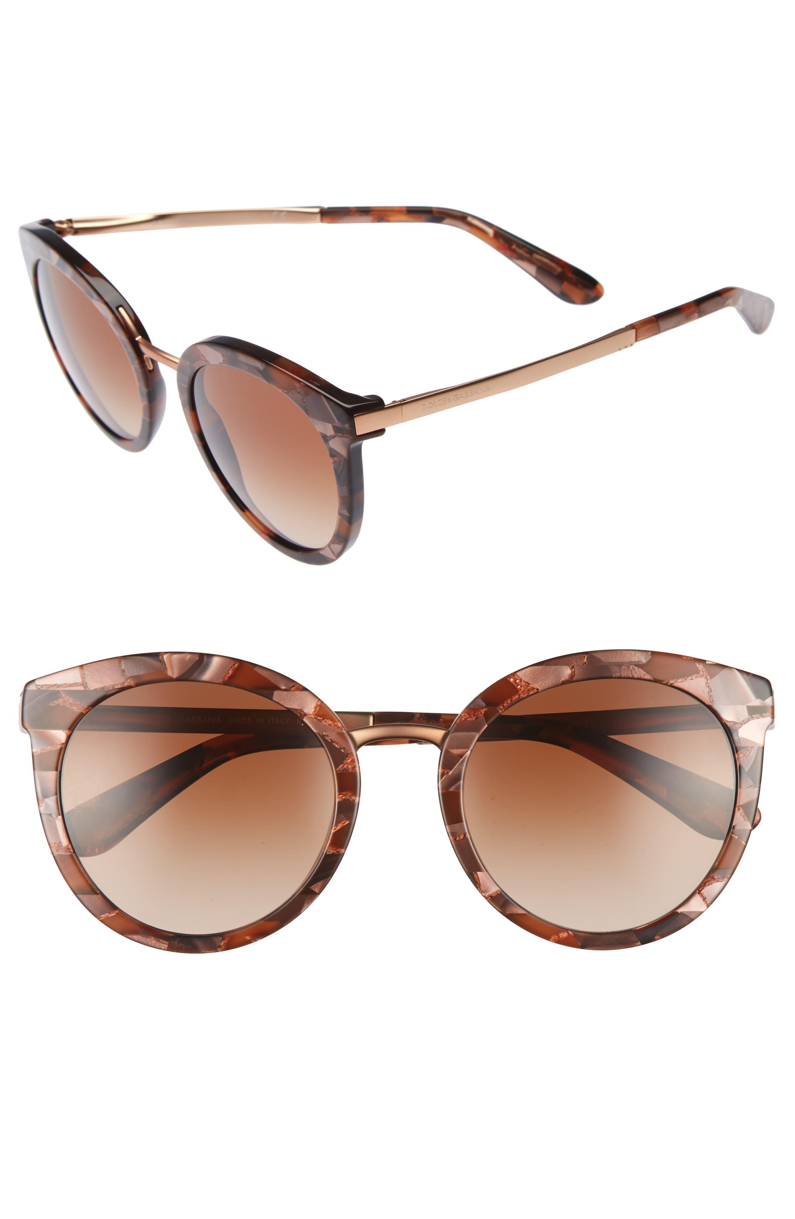 52mm Round Sunglasses,                             Main thumbnail 1, color,                             220