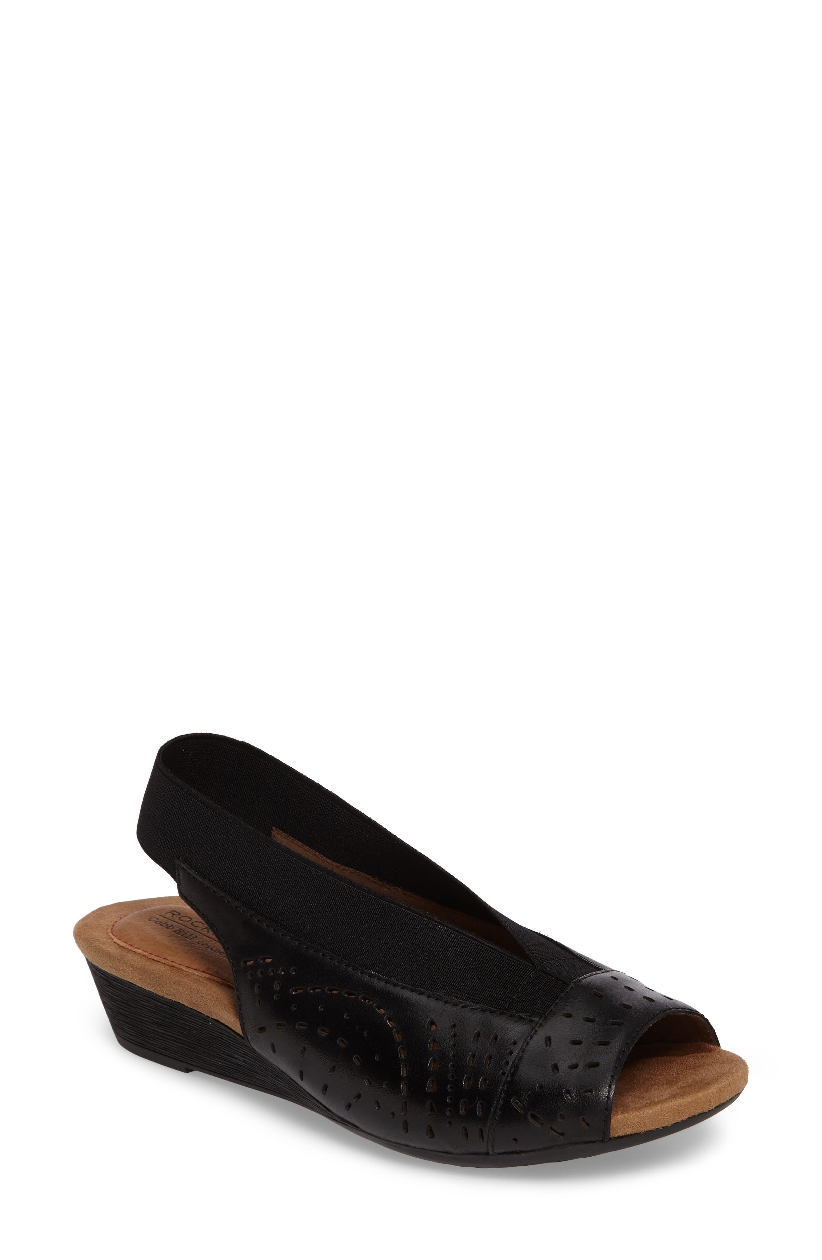 Judson Slingback Wedge Sandal,                             Main thumbnail 1, color,                             BLACK LEATHER