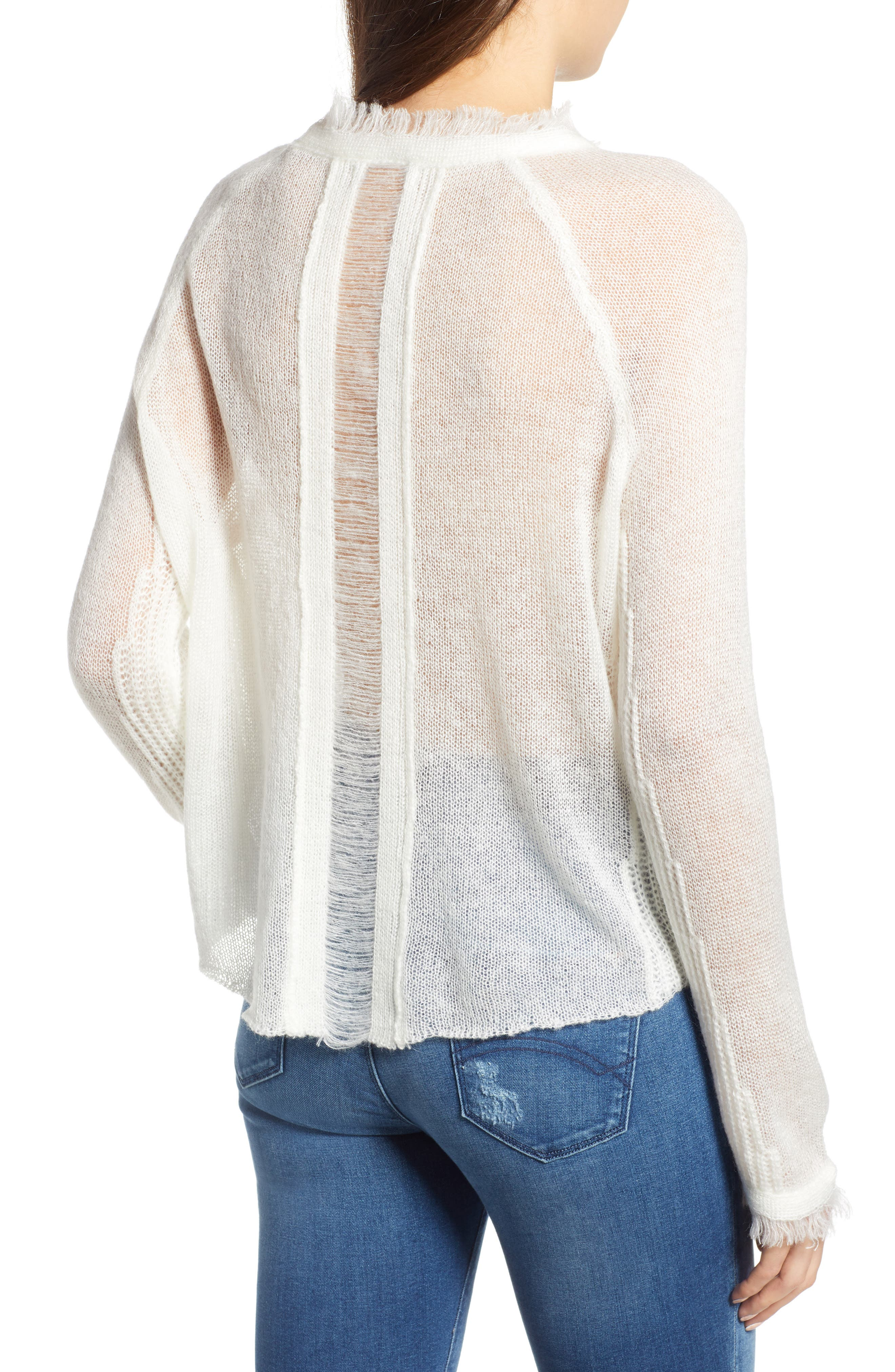 Fringed Sweater,                             Alternate thumbnail 2, color,                             IVORY